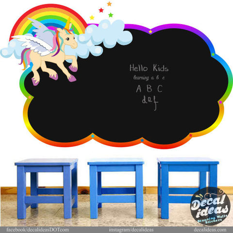 Chalkboard Wall Decal, Rainbow Pony Wall Mural, Classroom Wall Decal, Rainbow Wall Decals, Nursery Wall Decal, Printed Eraseable Chalkboard P-500111-D