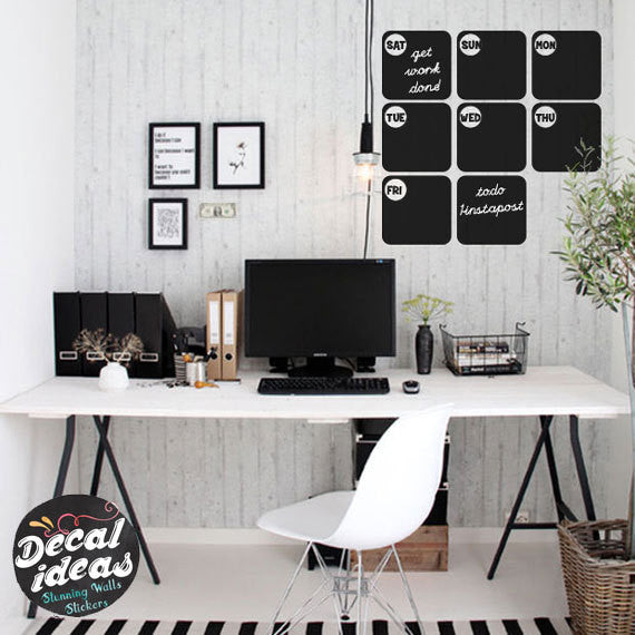 Dry Erase Wall Decal ,Chalkboard Wall Decal |  Weekly Planner Calendar Decal D-50056-D
