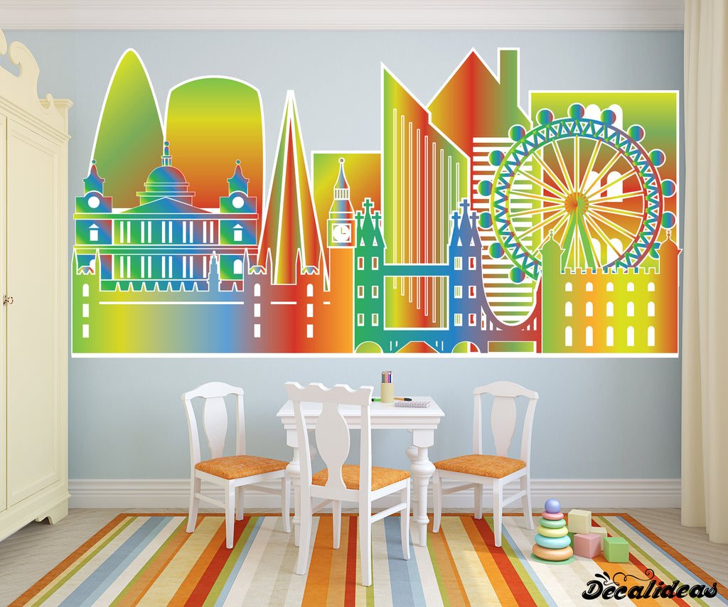 London City Skyline Wall Decal - Printed Wall Decal Sticker - Decalideas Wall Decals