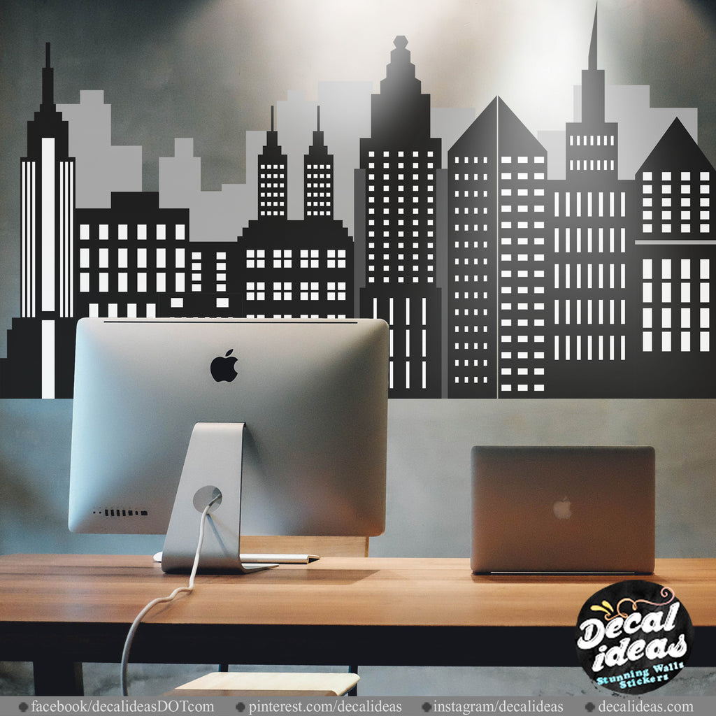 New York City Skyline Wall Decal - New York Skyline - Skyline Decal - New York Silhouette - New York City Decal - Printed Wall Sticker, NY01 - Decalideas Wall Decals