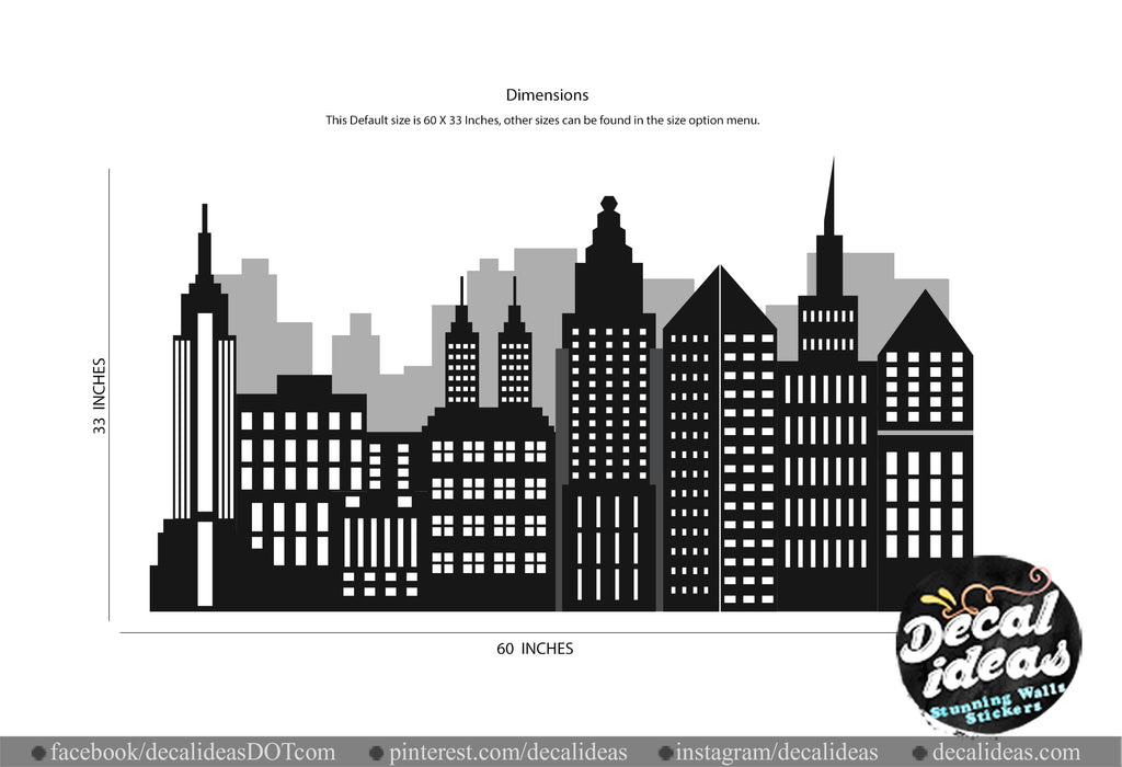 New York City Skyline Wall Decals for Kids - Nursery Skyline Decal - Skyline Decal - New York Silhouette - Decal sticker for kids, NY01 - Decalideas Wall Decals