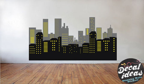 City skyline wall decal - kids room wall decal - Cityscape wall decal, Nursery Decal P-500114-D