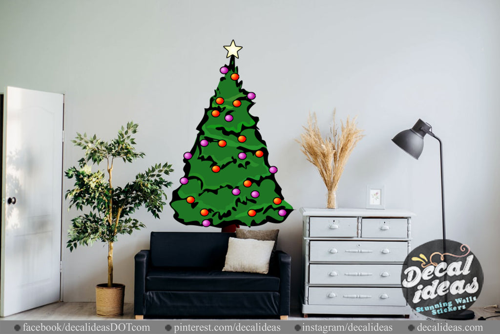 Christmas wall decals, christmas tree wall sticker, christmas tree sticker, Tree wall decal, Tree vinyl decal ,Christmas Tree Wall Decal-05 - Decalideas Wall Decals