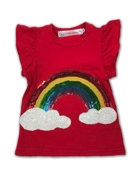 Harper Ruffle Sleeve Top - Red with Rainbow