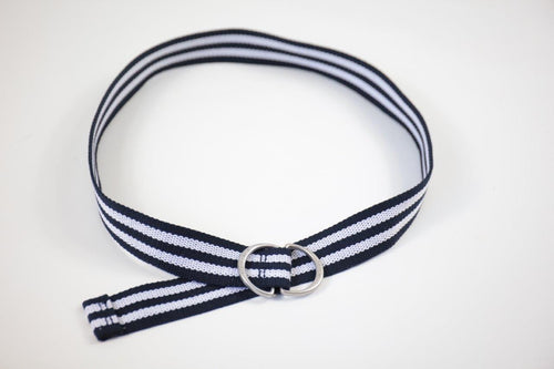 Boys Canvas Navy Striped Belt