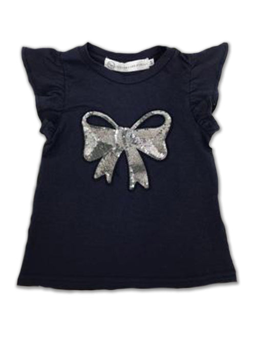 Harper Ruffle Sleeve Top - Dark Blue with Bow