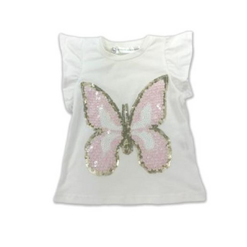 Harper Ruffle Sleeve Top - Cream with Butterfly