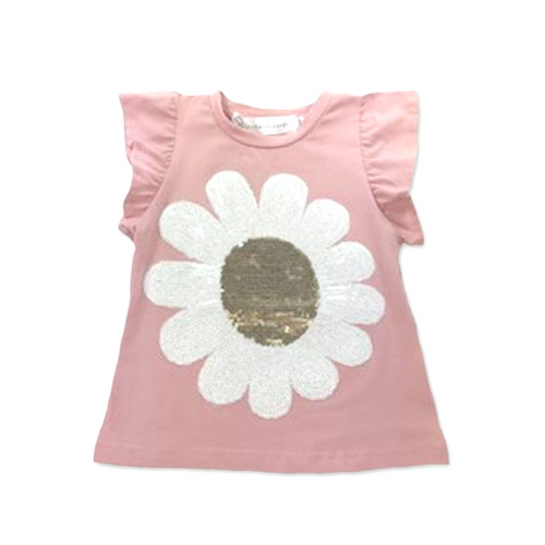 Harper Ruffle Sleeve Top - Dusty Pink with Daisy