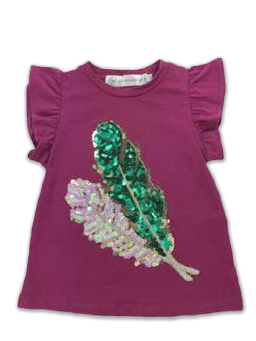 Harper Ruffle Sleeve Top - Mulberry with Feathers