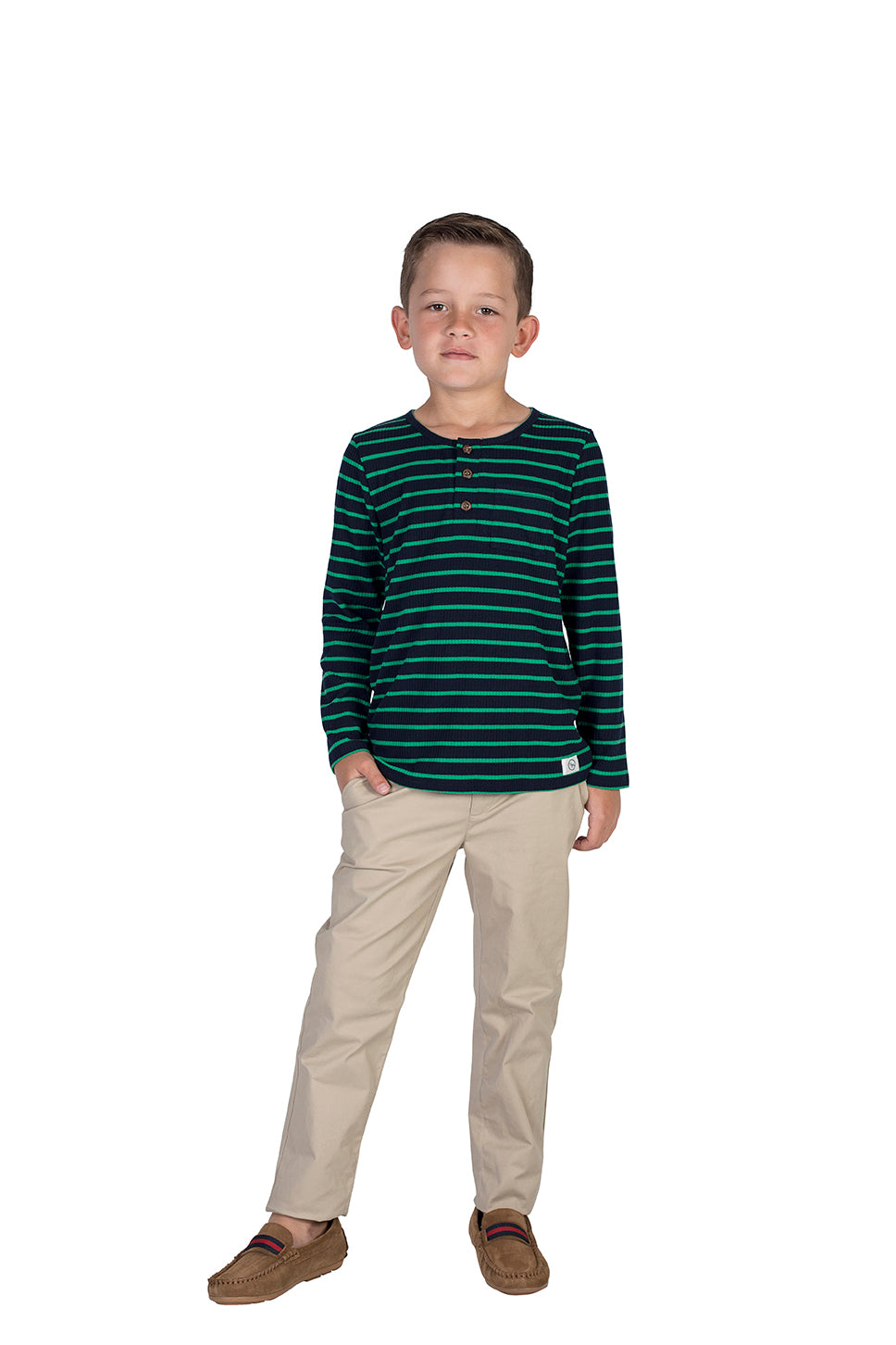 Knit Jumper Green with Blue Stripes