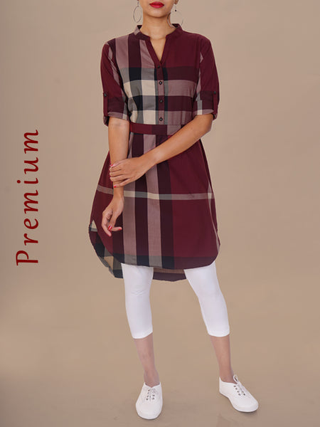 Chequered Print Belted Cotton Blend Twill Kurti - Burgundy