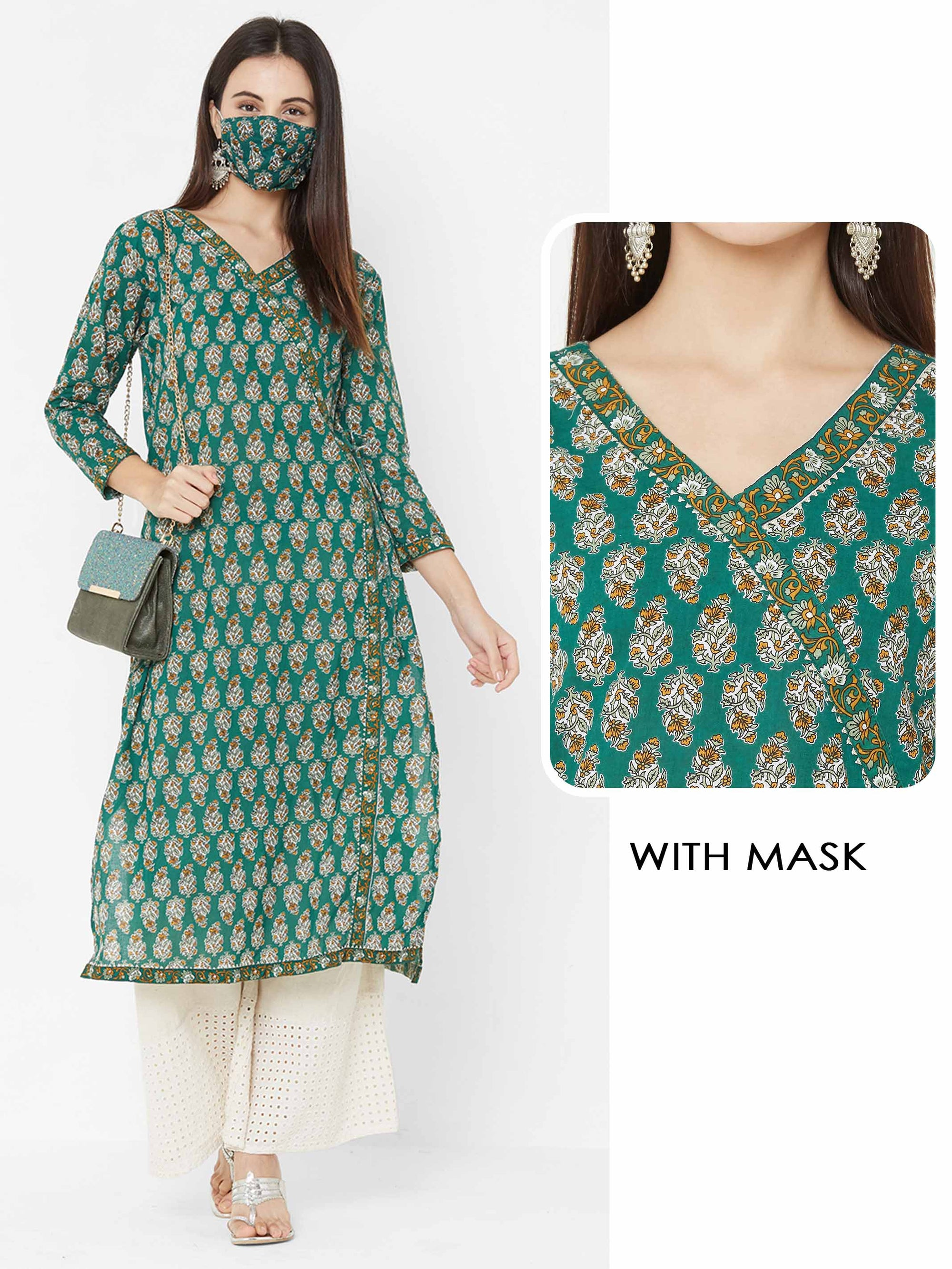 Block Printed Floral Dense Printed Angarakha Kurta with printed 2 Ply Mask – Green