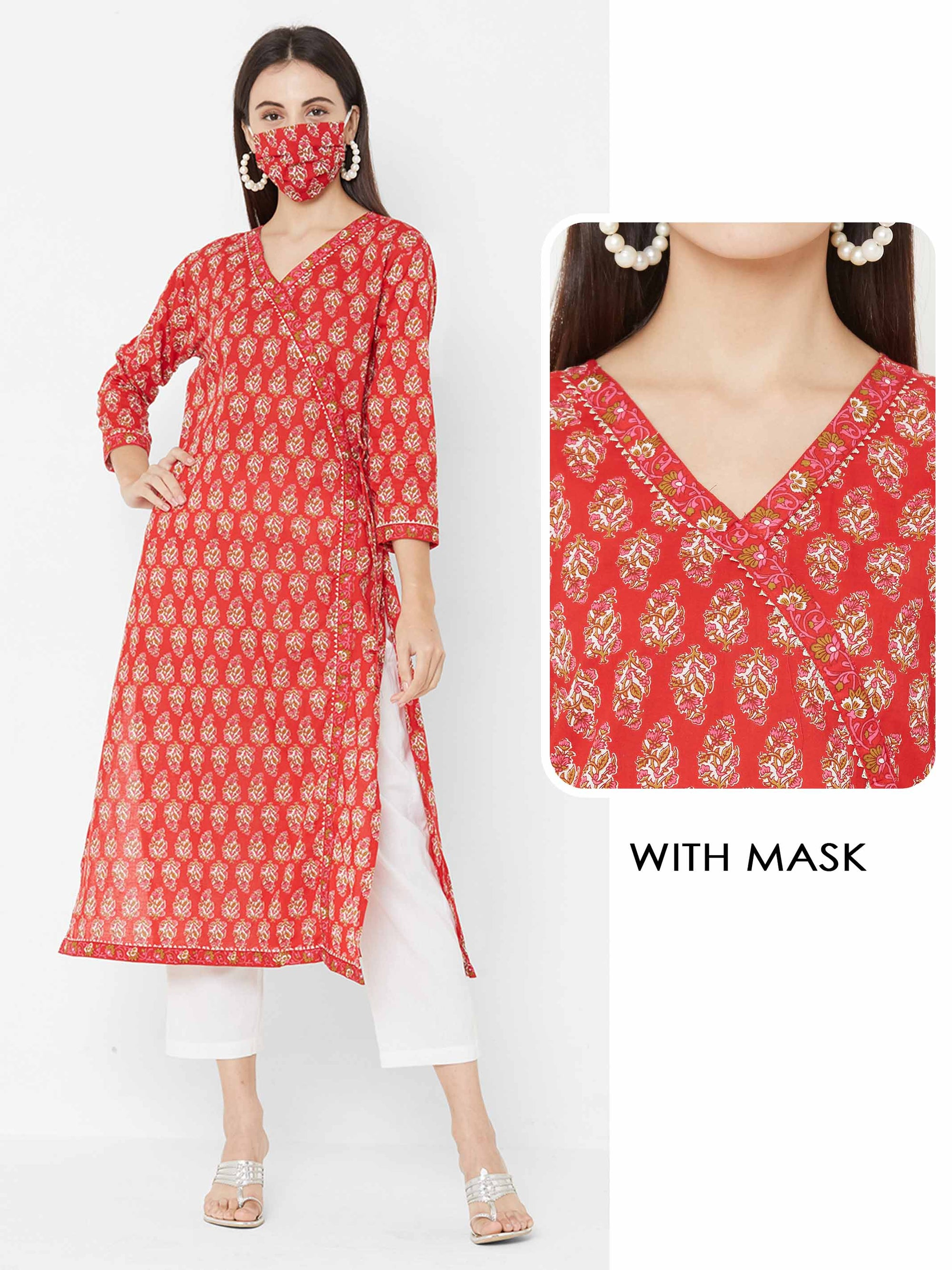 Block Printed Floral Dense Printed Angarakha Kurta with printed 2 Ply Mask – Red