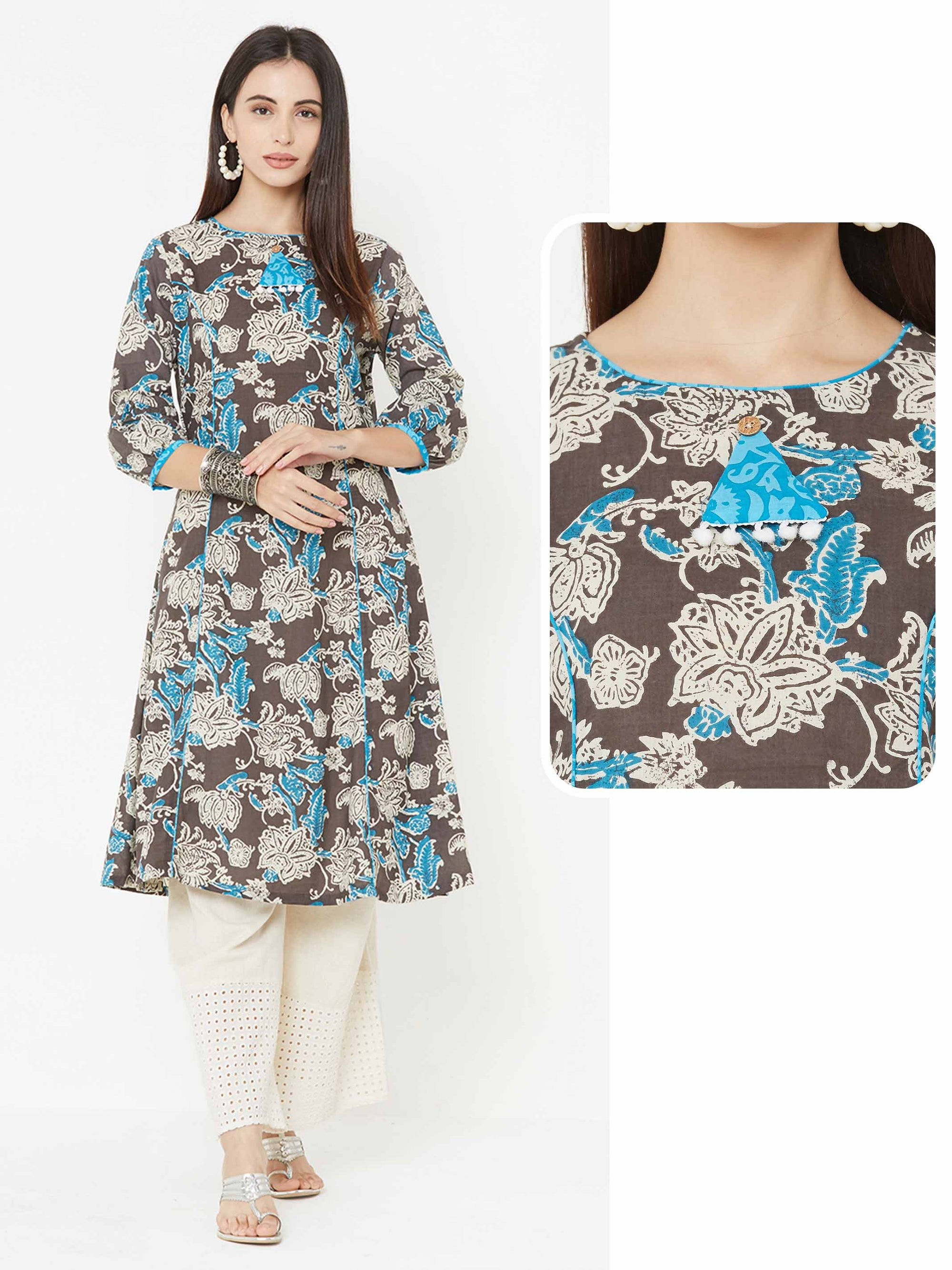 Contrast Floral Prints over Moroccan Printed Stripe Kurta – Grey