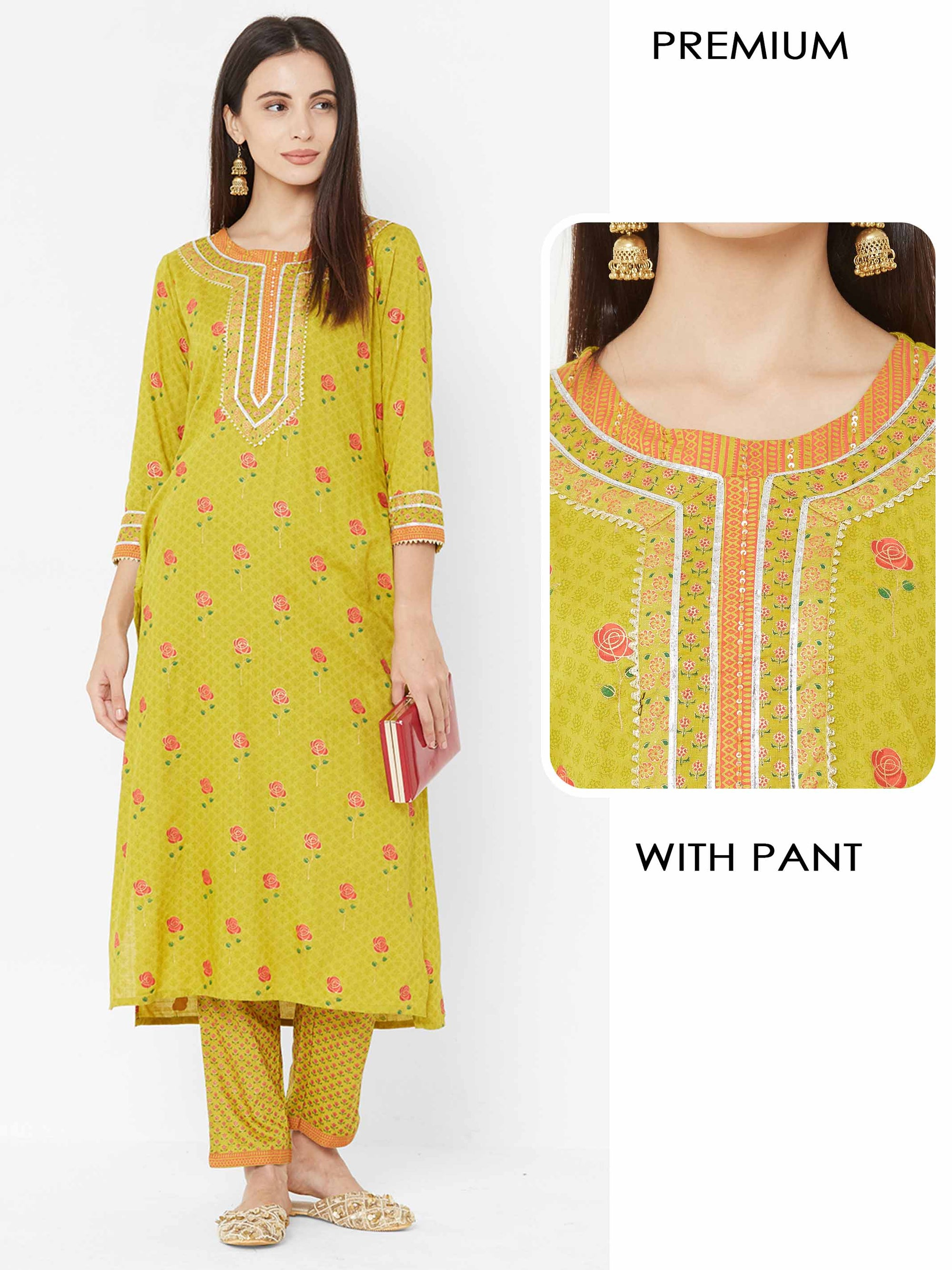 Floral Mix Printed Straight Kurta with Printed Pant – Green