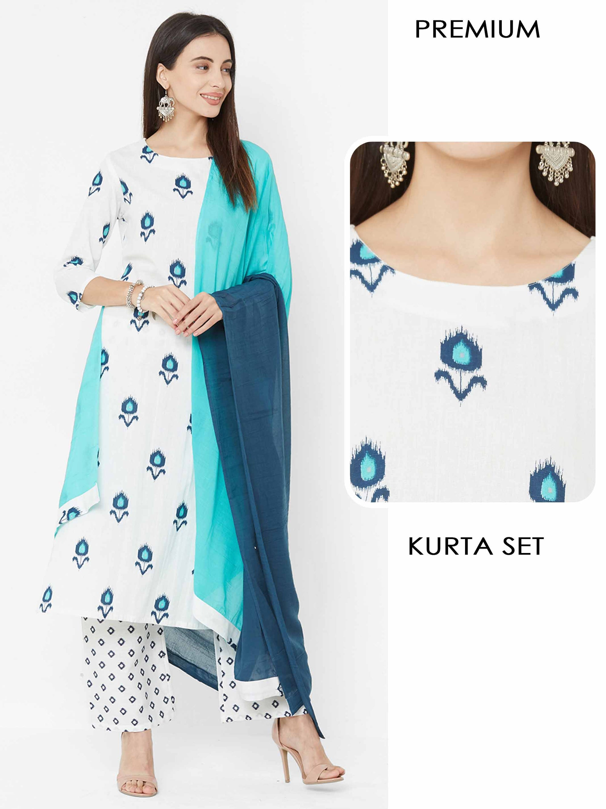Ikkat printed Straight Kurta & Palazzo with Ombre Dyed Dupatta – White
