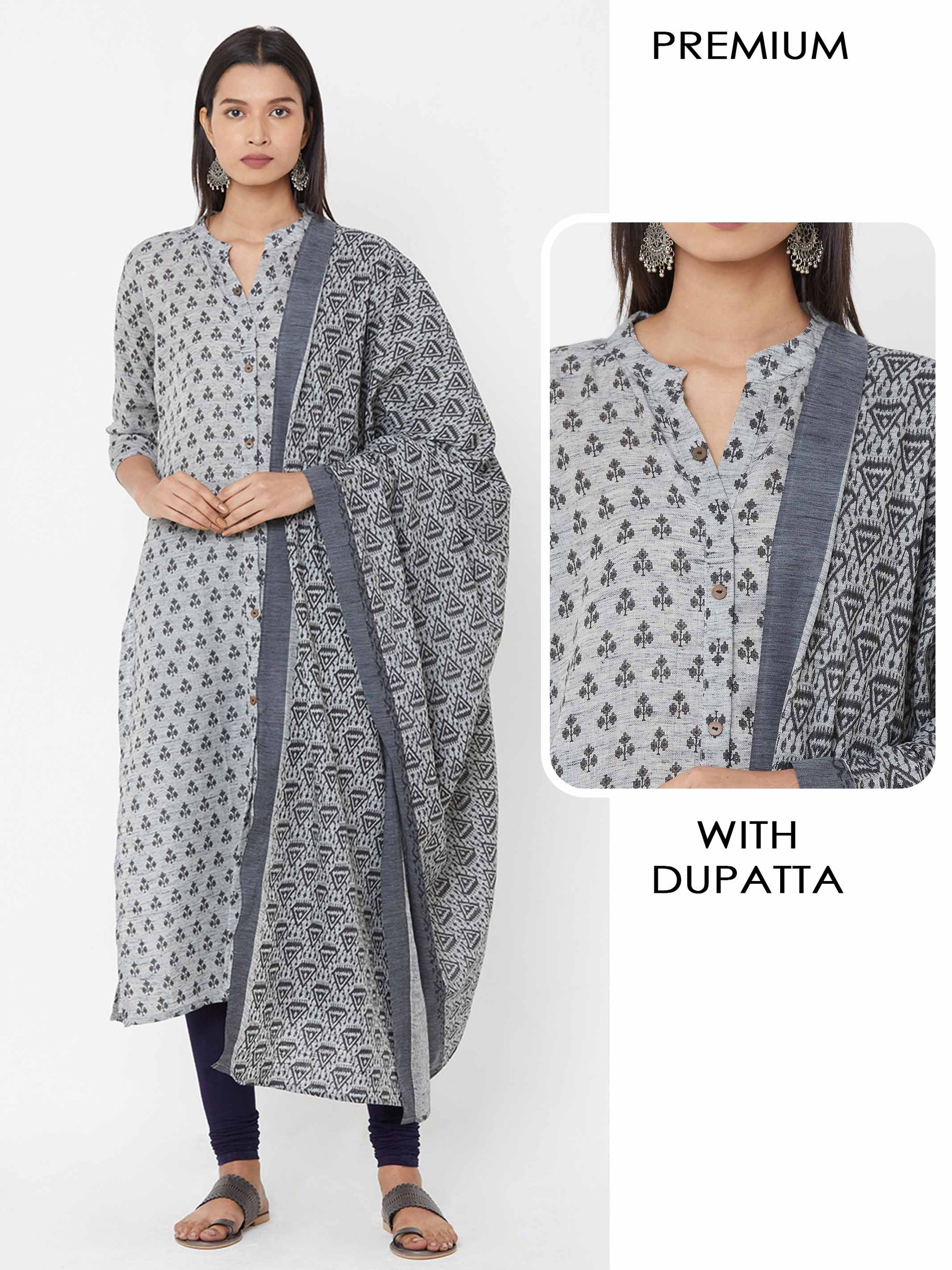 Tribal Floral Printed Kurta with Tribal Printed Dupatta - Grey