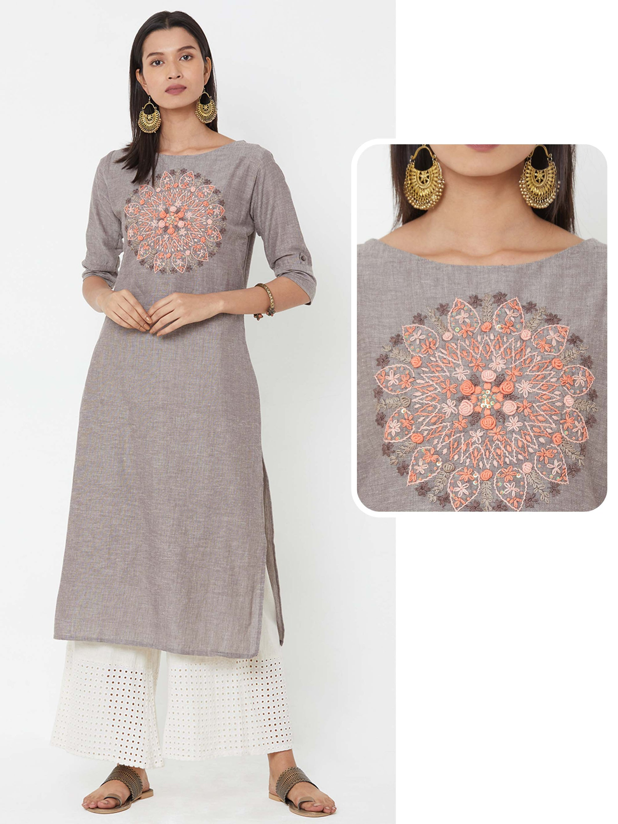 Bullion Knot Floral Embroidery Kurta - Grey