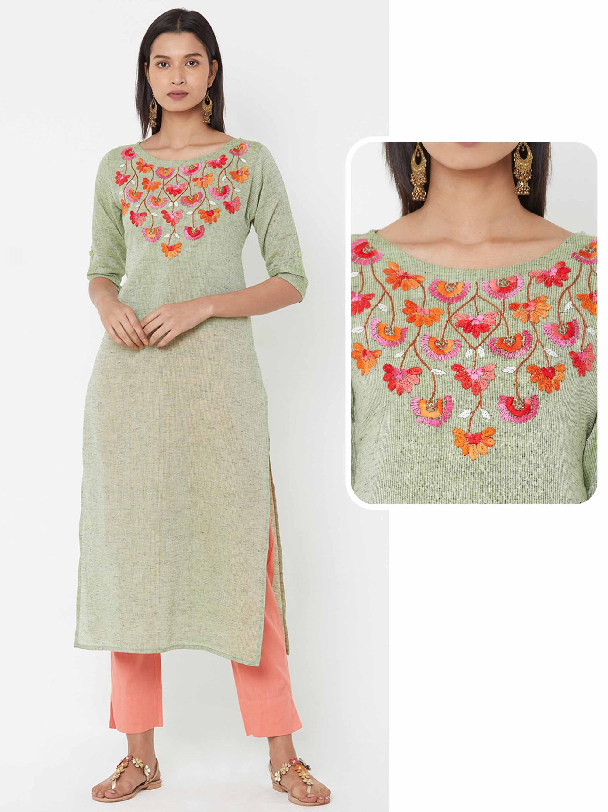 Bullion Knot Floral Embroidered Yoke over Striped Woven Kurta - Green