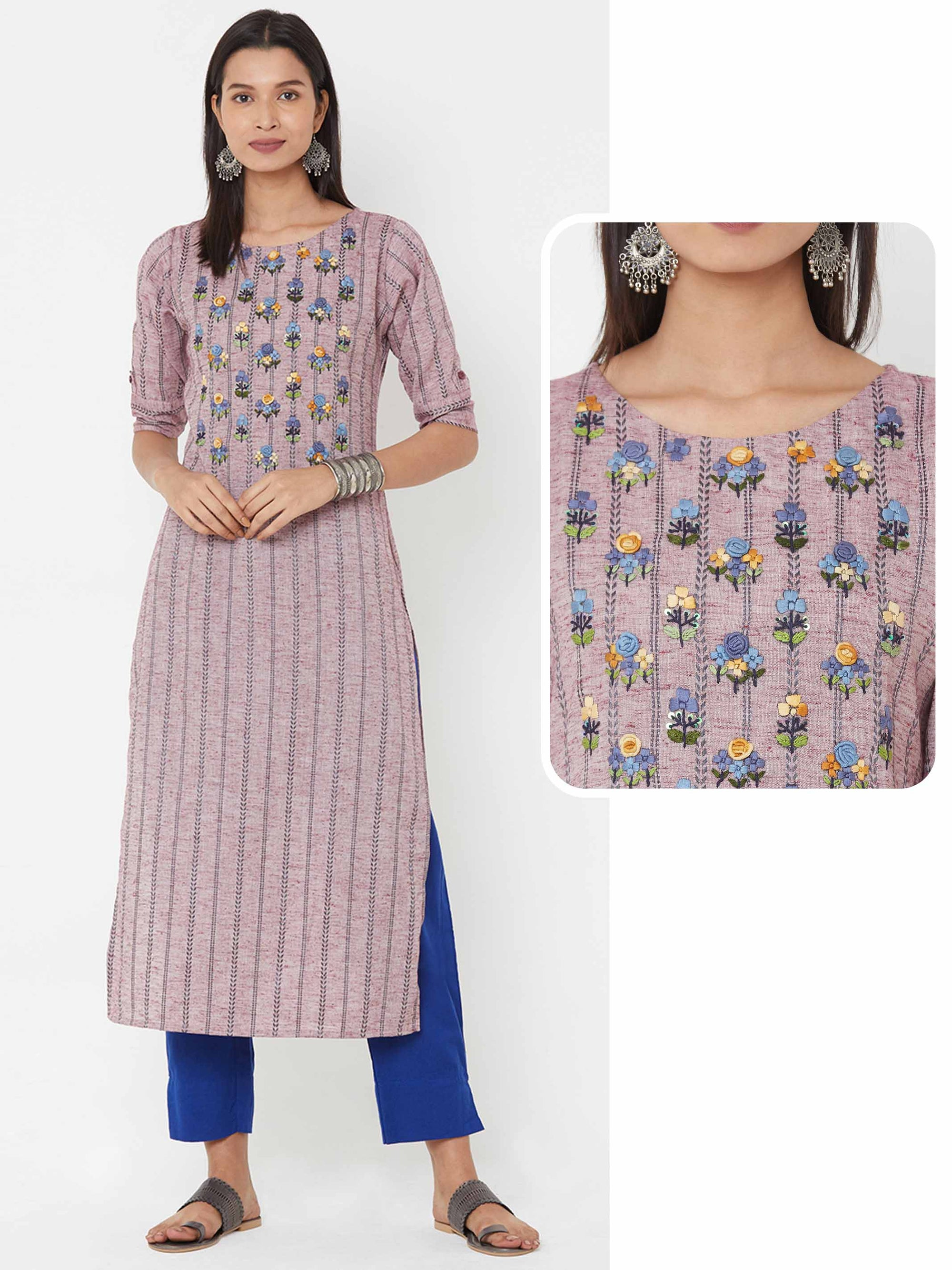 Bullion Knot Floral Embroidered Yoke over Striped Woven Kurta – Light Wine
