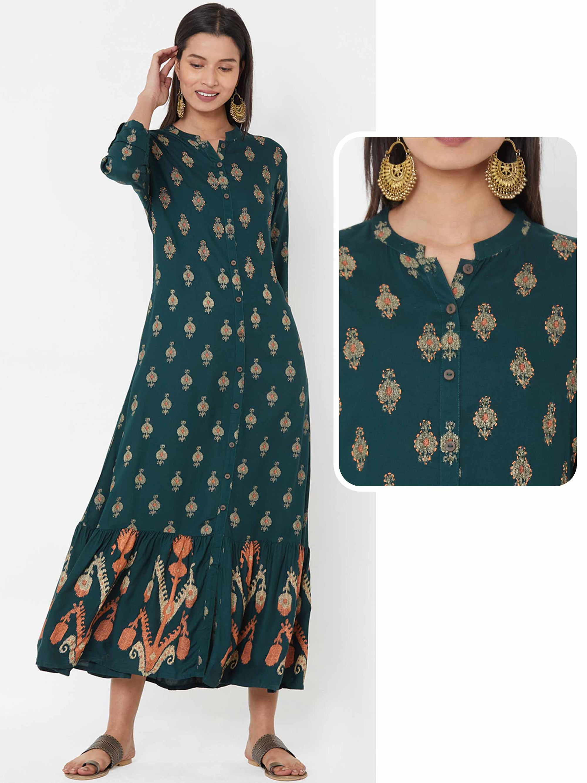 Ikat Printed A-Line Gathered Dress – Bottle Green