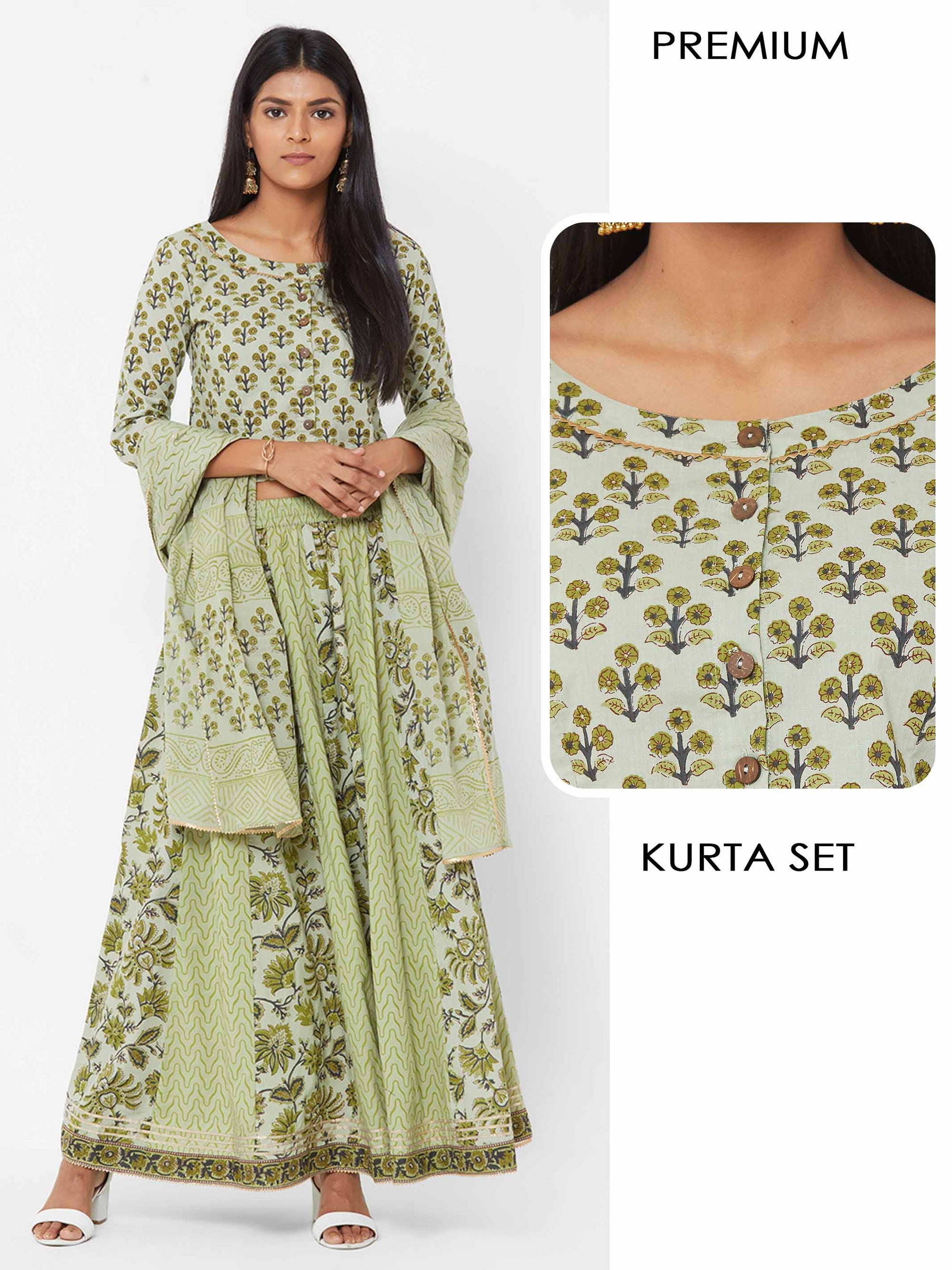 Floral printed Blouse with Mix printed Skirt with Printed Dupatta – Pista Green