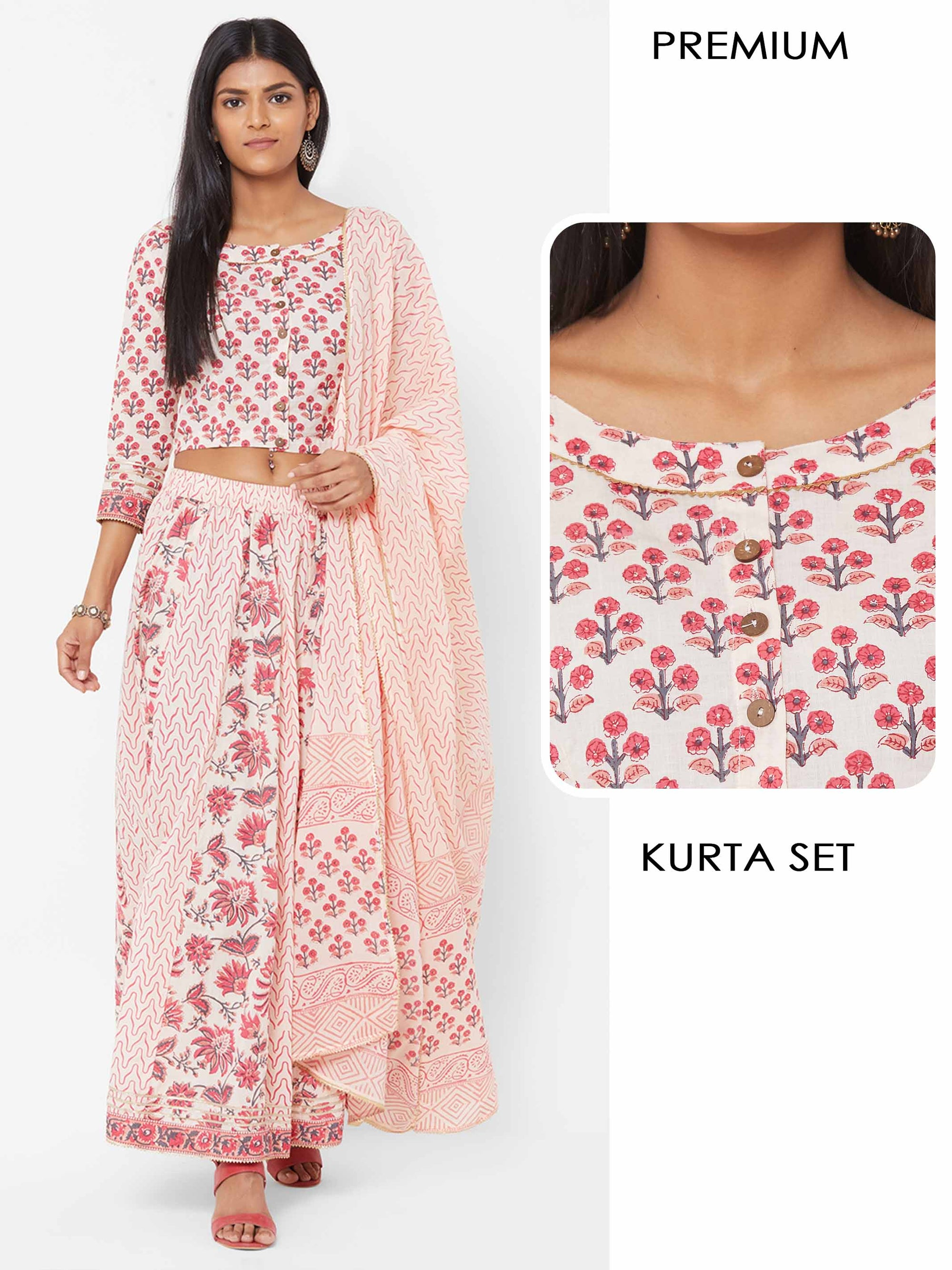 Floral printed Blouse with Mix printed Skirt with Printed Dupatta – Pink