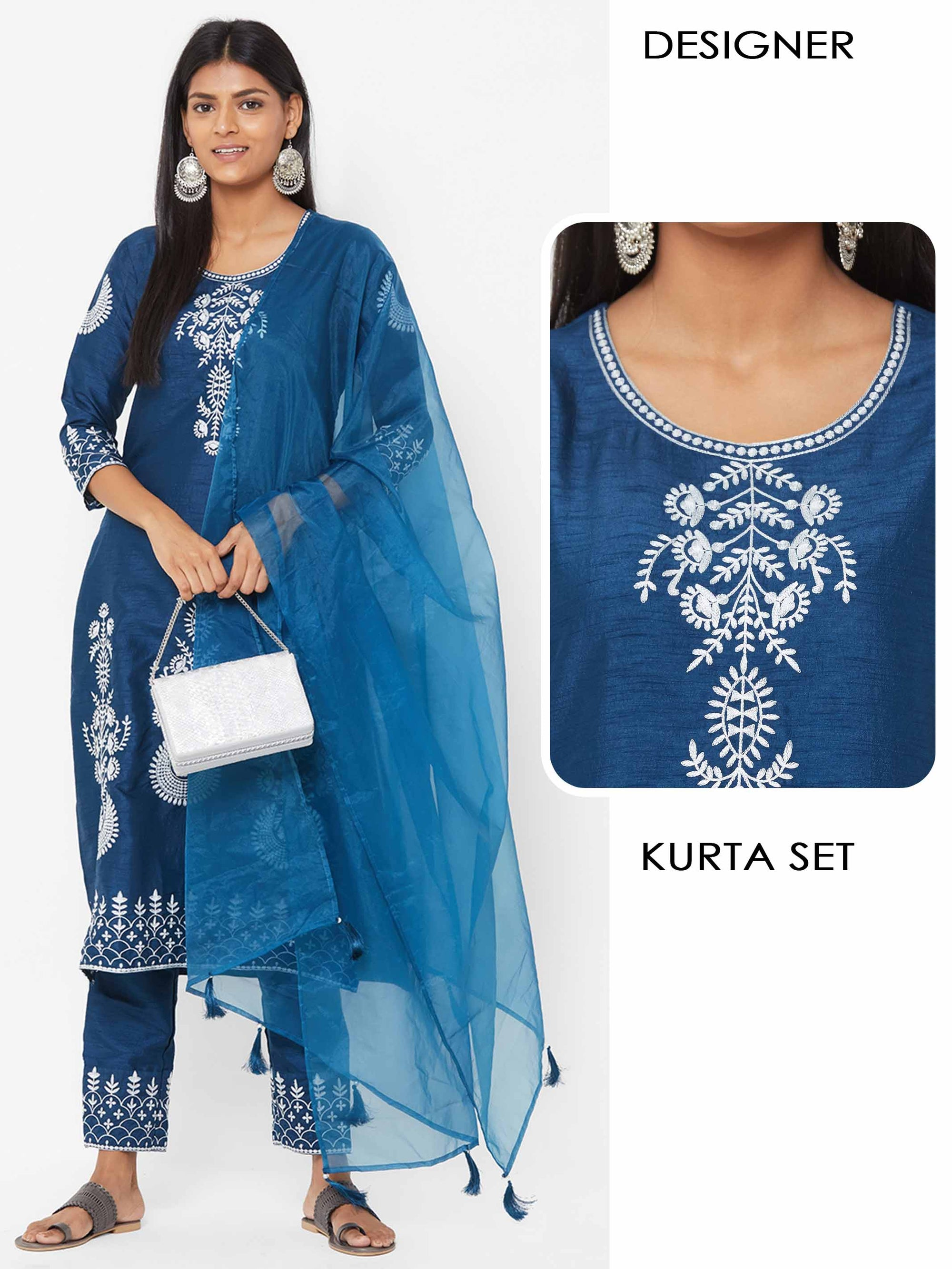 Floral Embroidered Kurta with Embroidered Pants and Solid Matching Dupatta - Teal