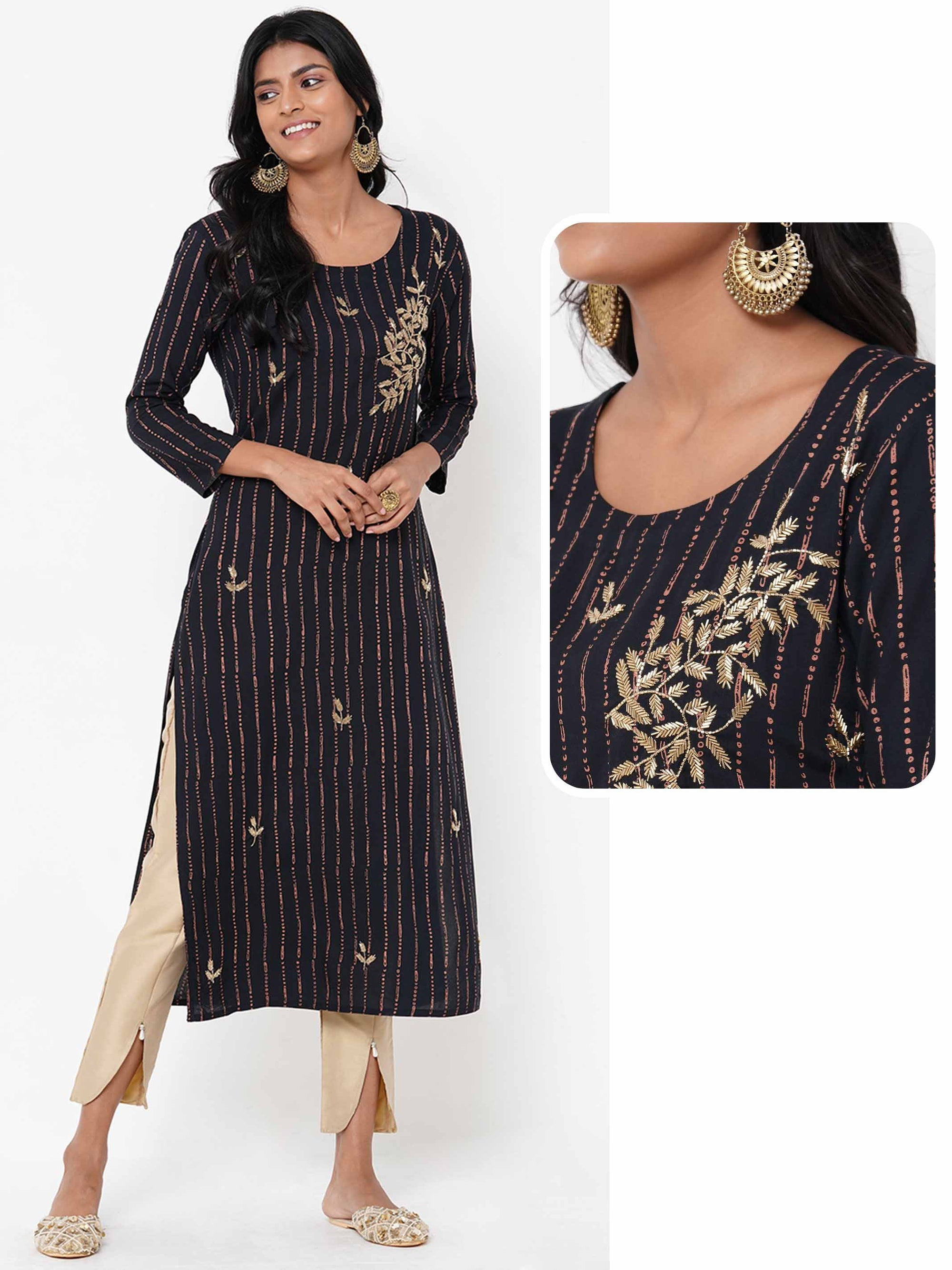 Abstract Stripe Printed & Embellished Kurta – Black