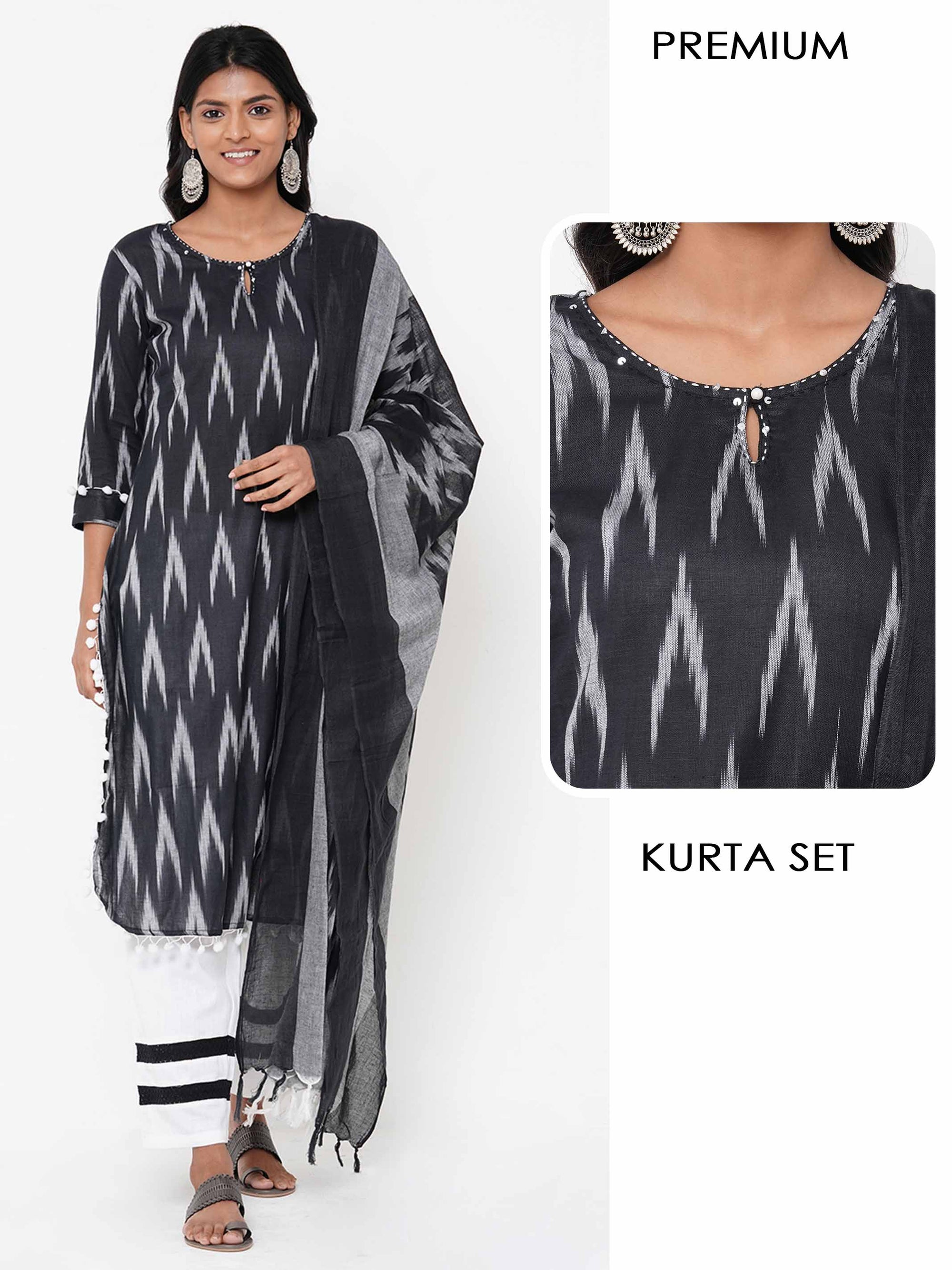 Ikat Printed Straight Kurta with Minimal Striped Palazzo with Ikat Printed Dupatta - Black