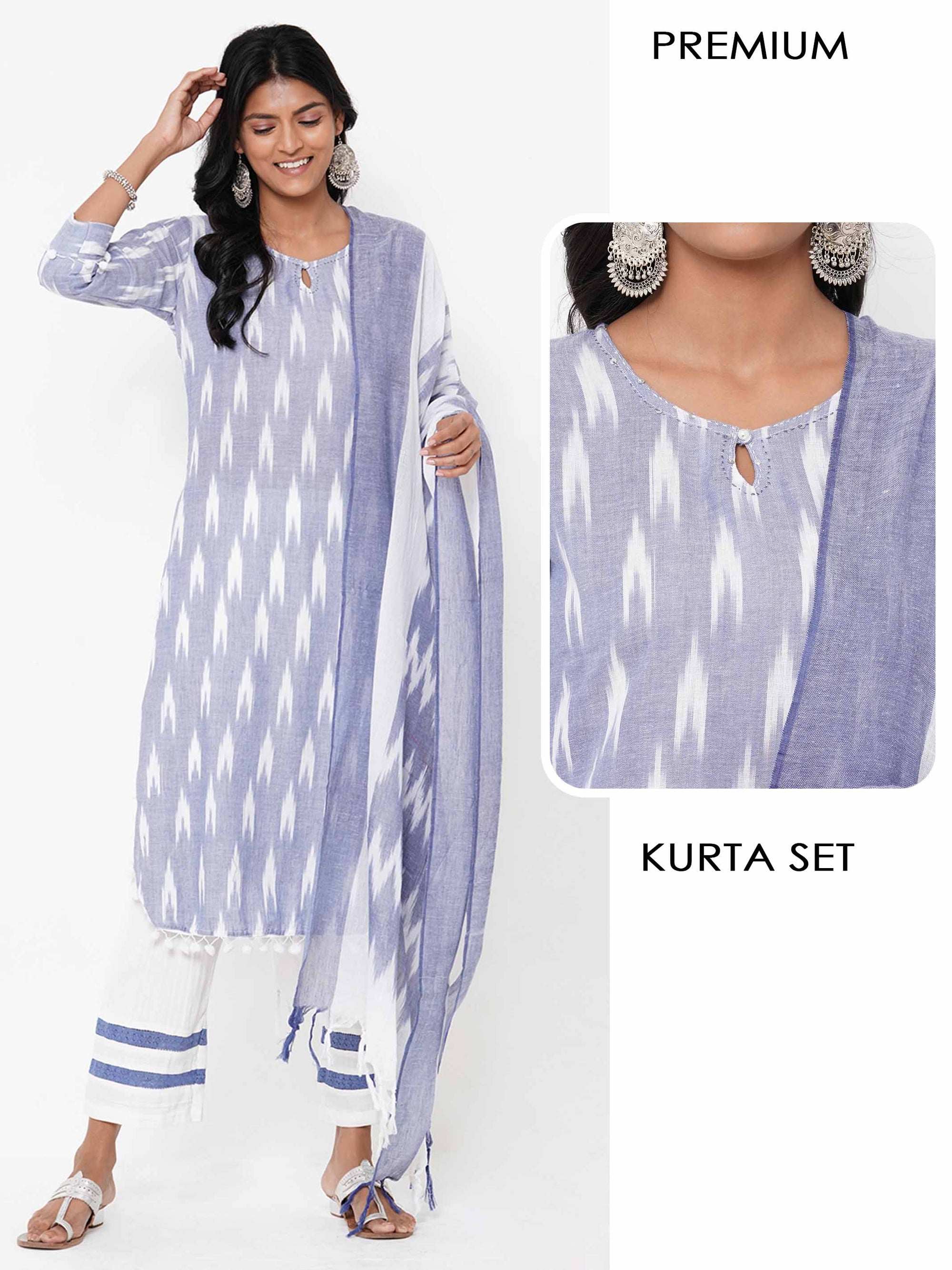 Ikat Printed Straight Kurta with Minimal Striped Palazzo with Ikat Printed Dupatta - Light Indigo