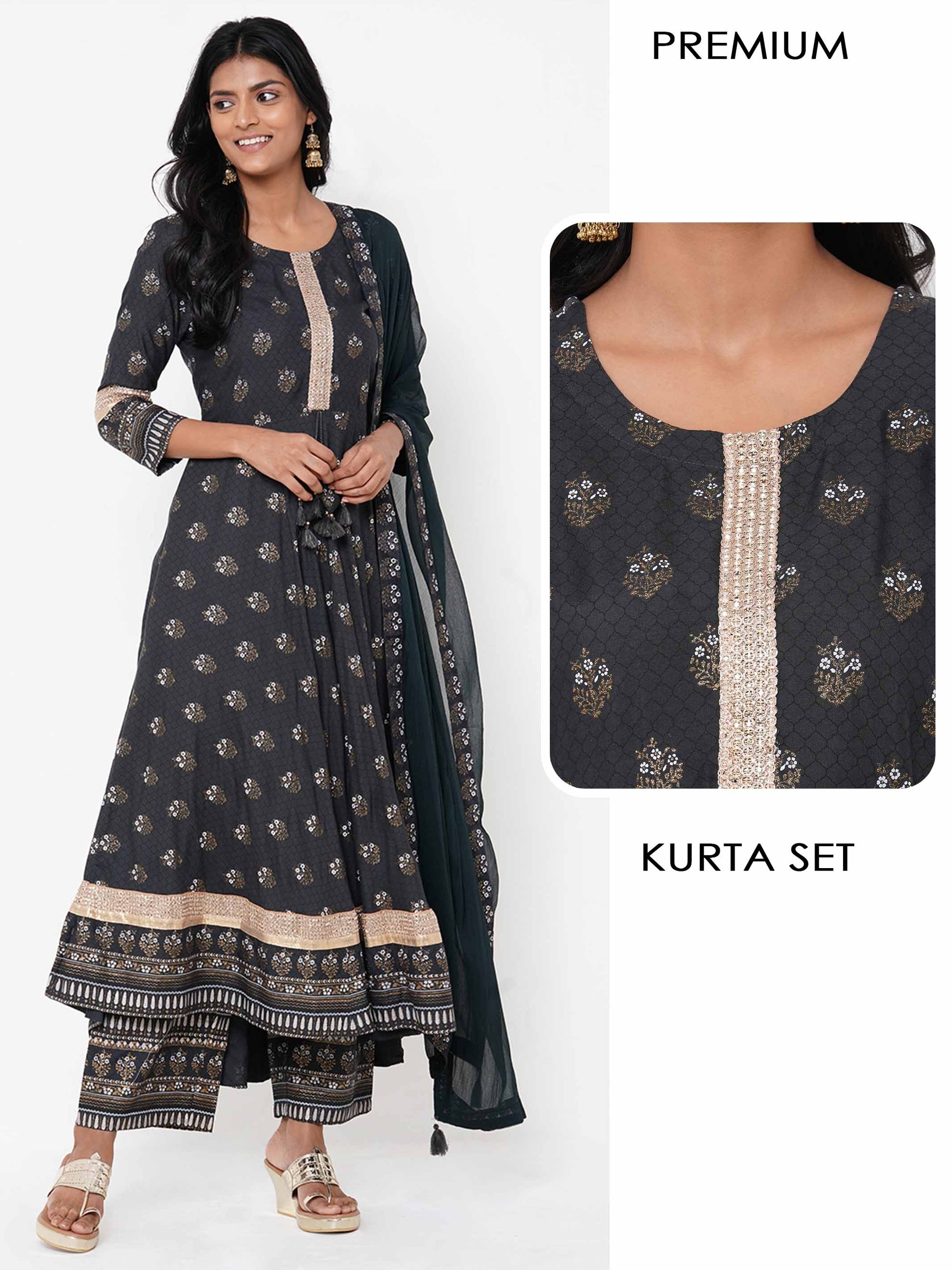 Floral Mix Printed Flared Kurta with Dense Printed Palazzo with Solid Dupatta - Charcoal Black