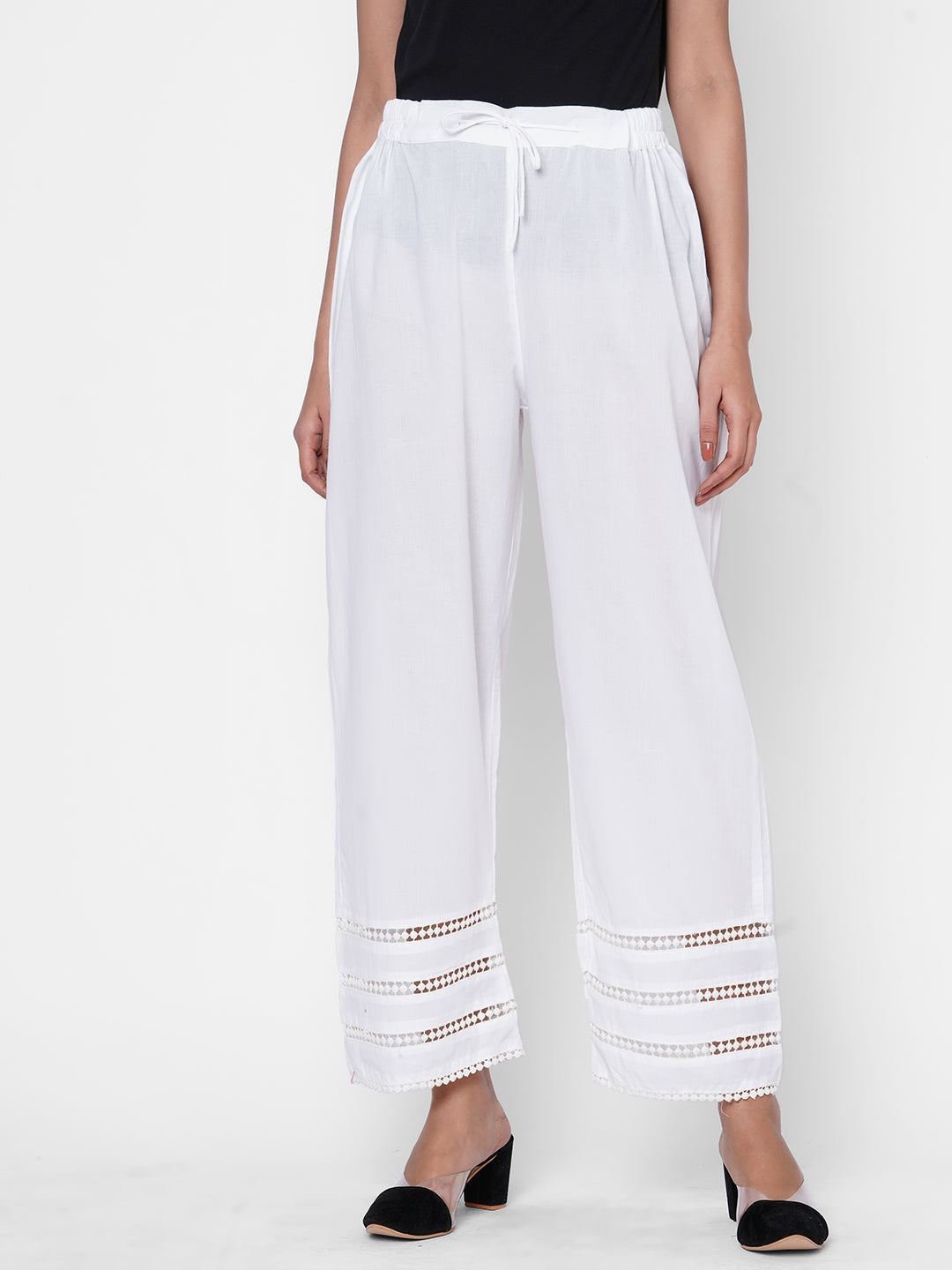 White Solid Cotton Laced Palazzo - White