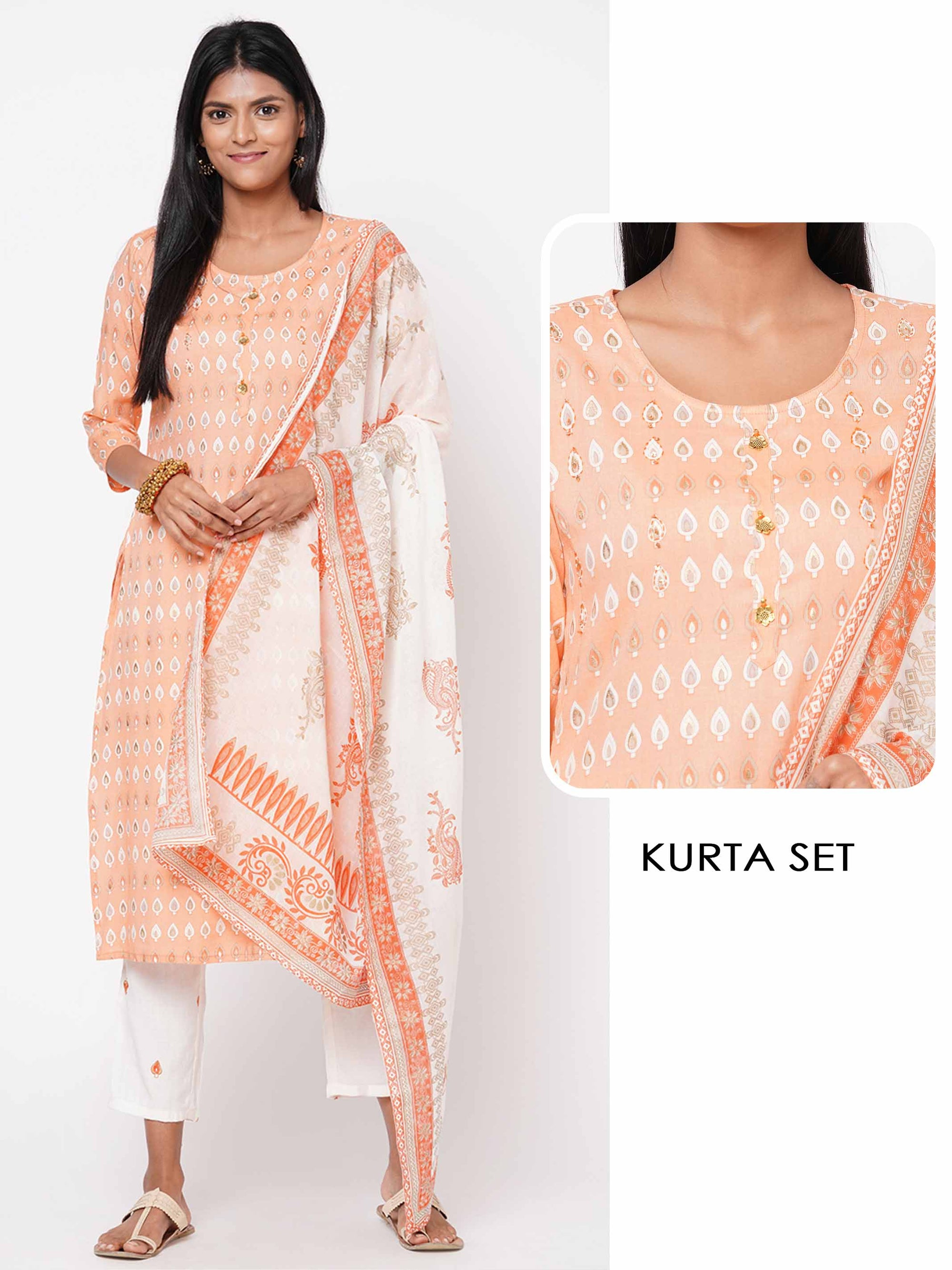 Ethnic Printed & Embellished Kurta with Printed Pant with Printed Dupatta – Peach