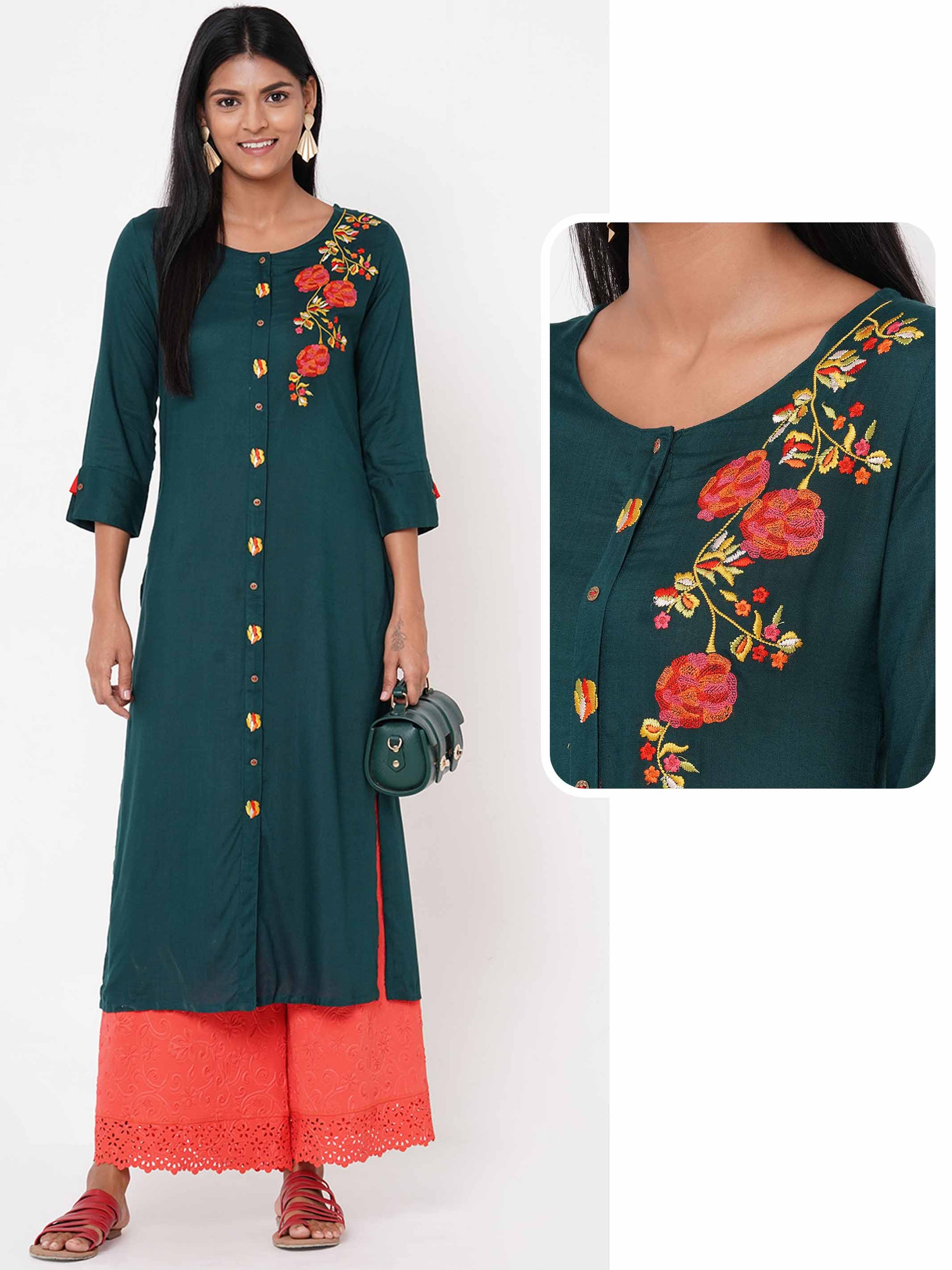 Placement Floral Embroidered Straight Kurta – Bottle Green