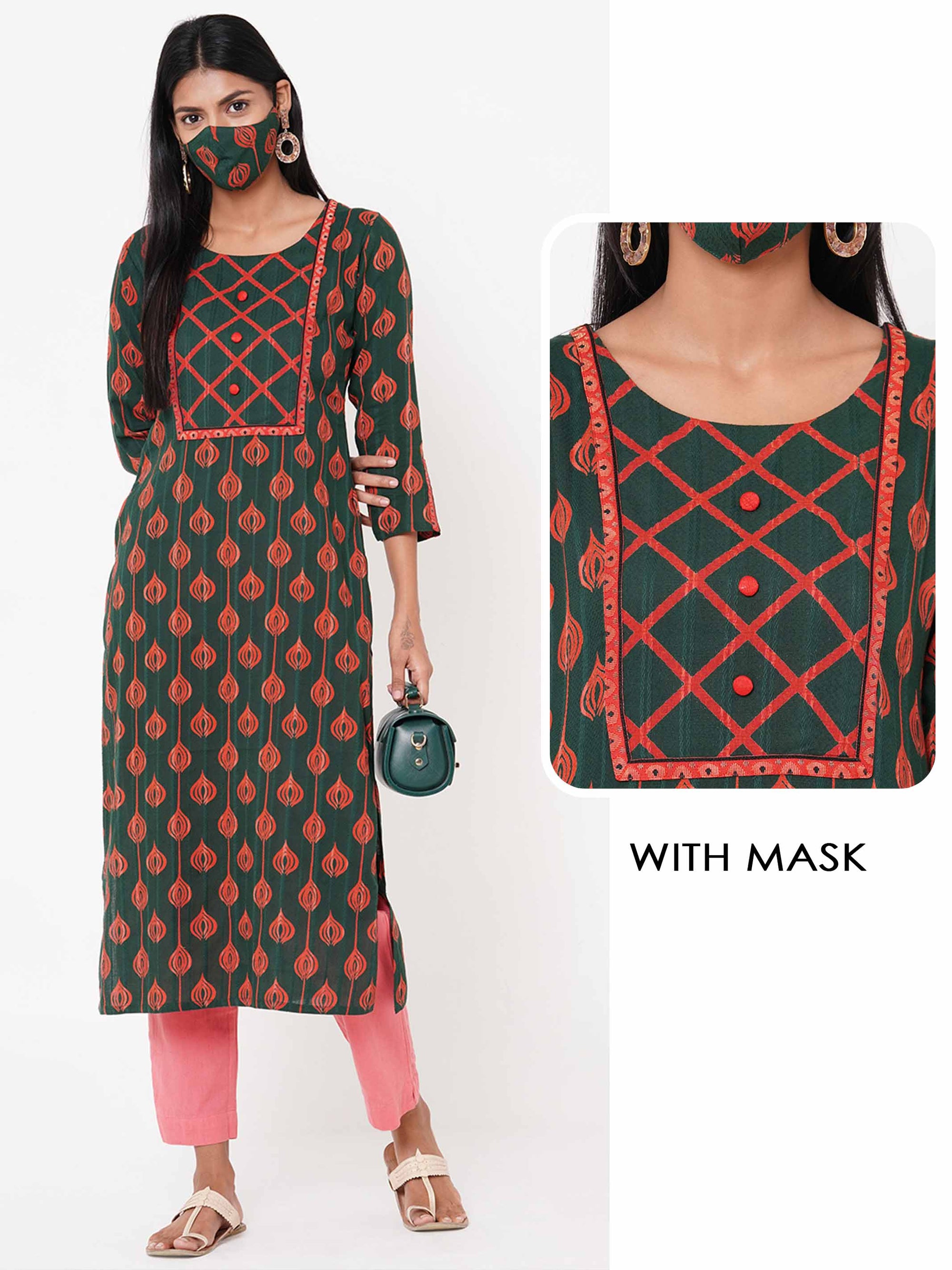 Ethnic Printed Kurta with Printed 2 Ply Mask - Bottle Green