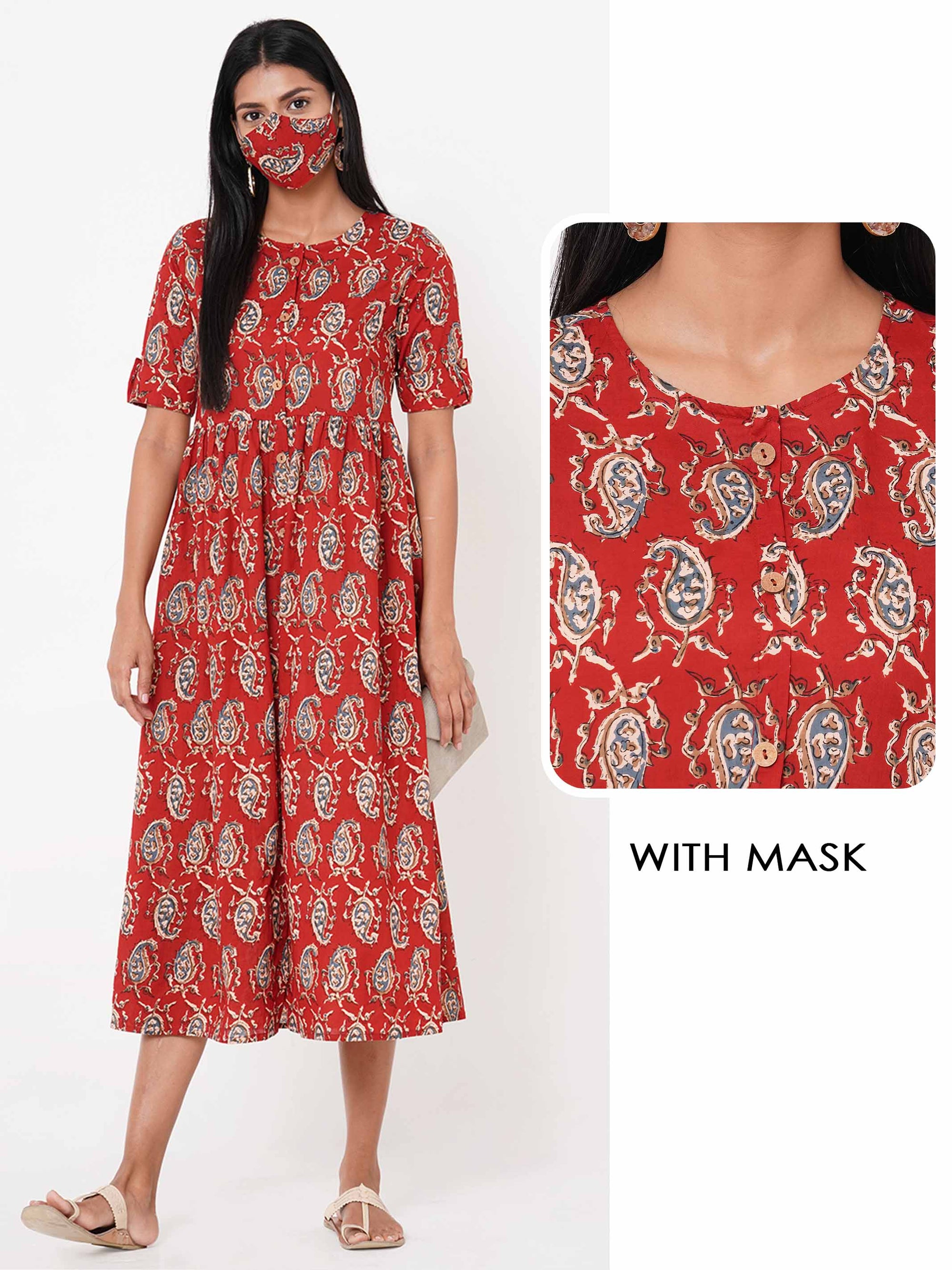 Ethnic Block Printed Gathered Dress with 2 Ply Mask – Maroon