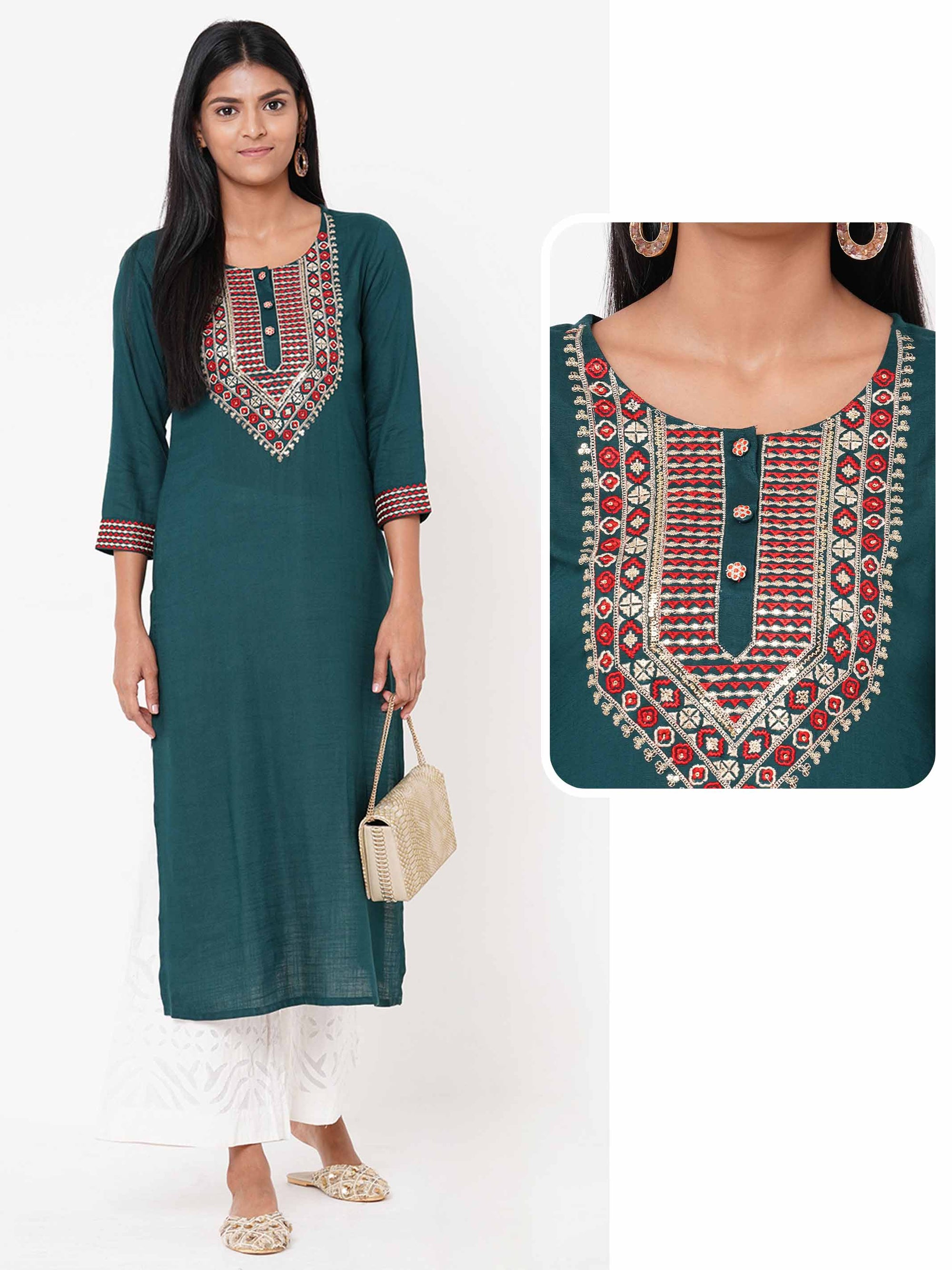 Heavy Embroidered Yoke Straight Kurta – Bottle Green