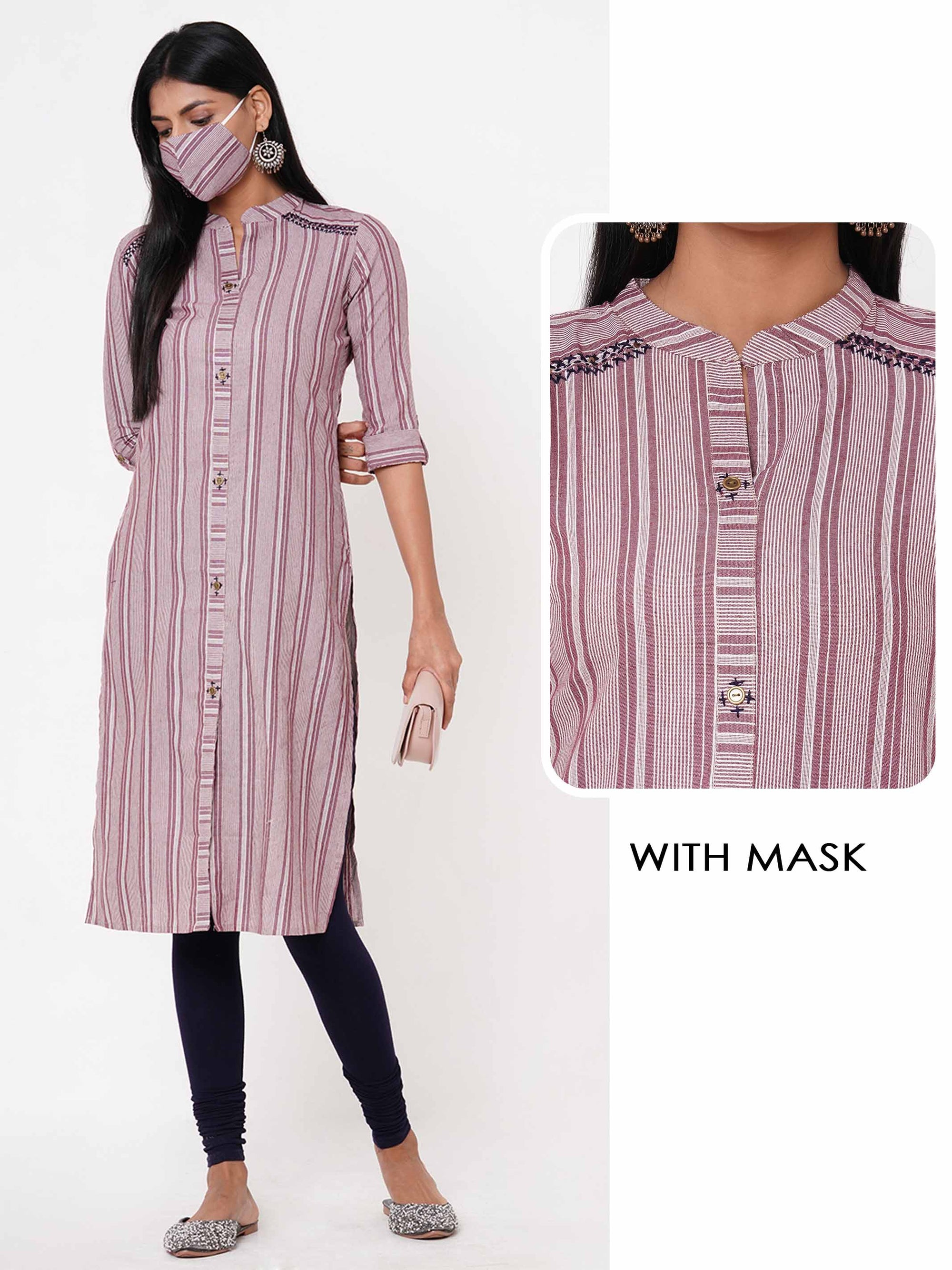 Woven Striped Kurta with Matching 2 Ply Mask – Rust Pink