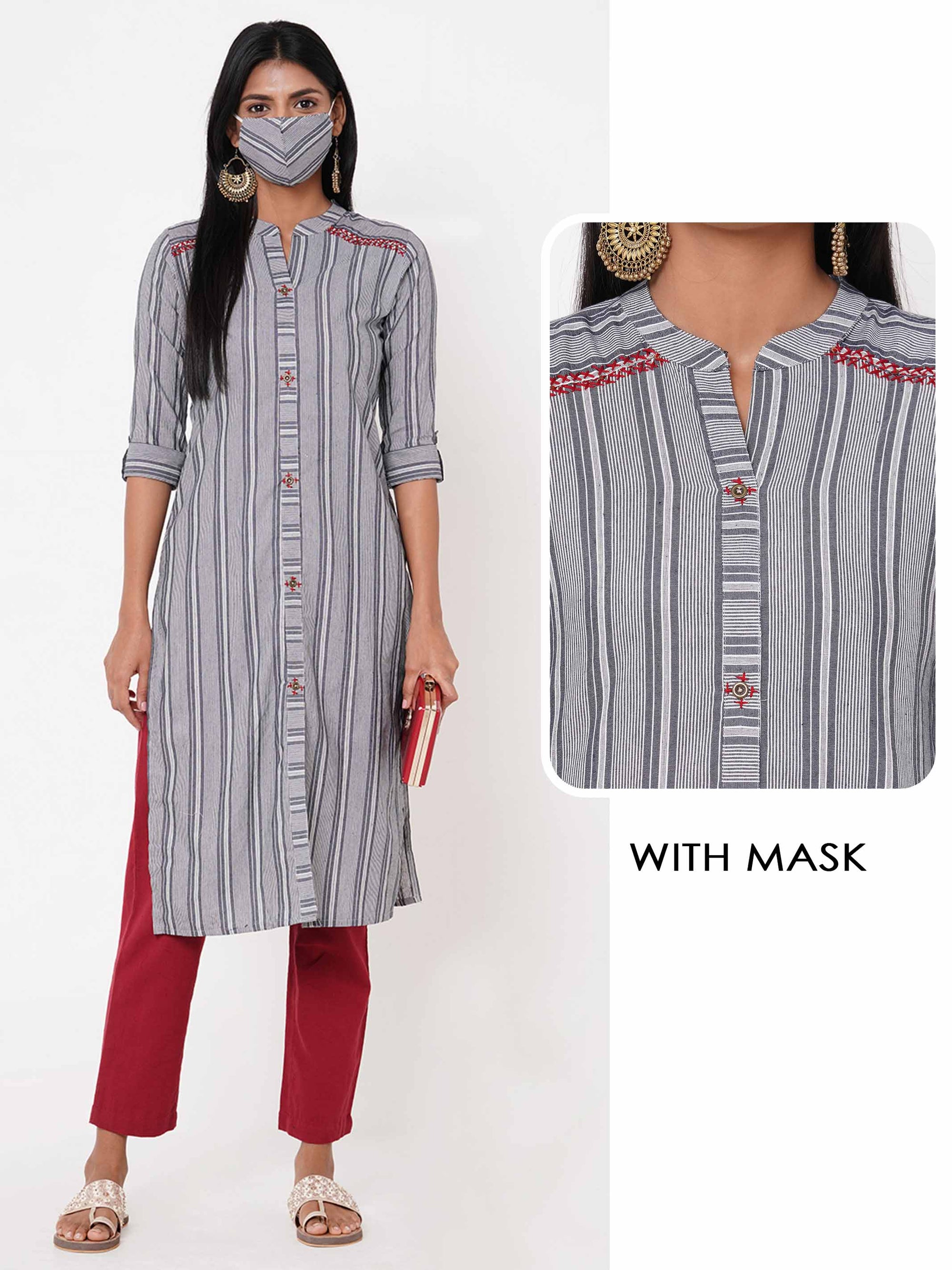 Woven Striped Kurta with Matching 2 Ply Mask – Grey