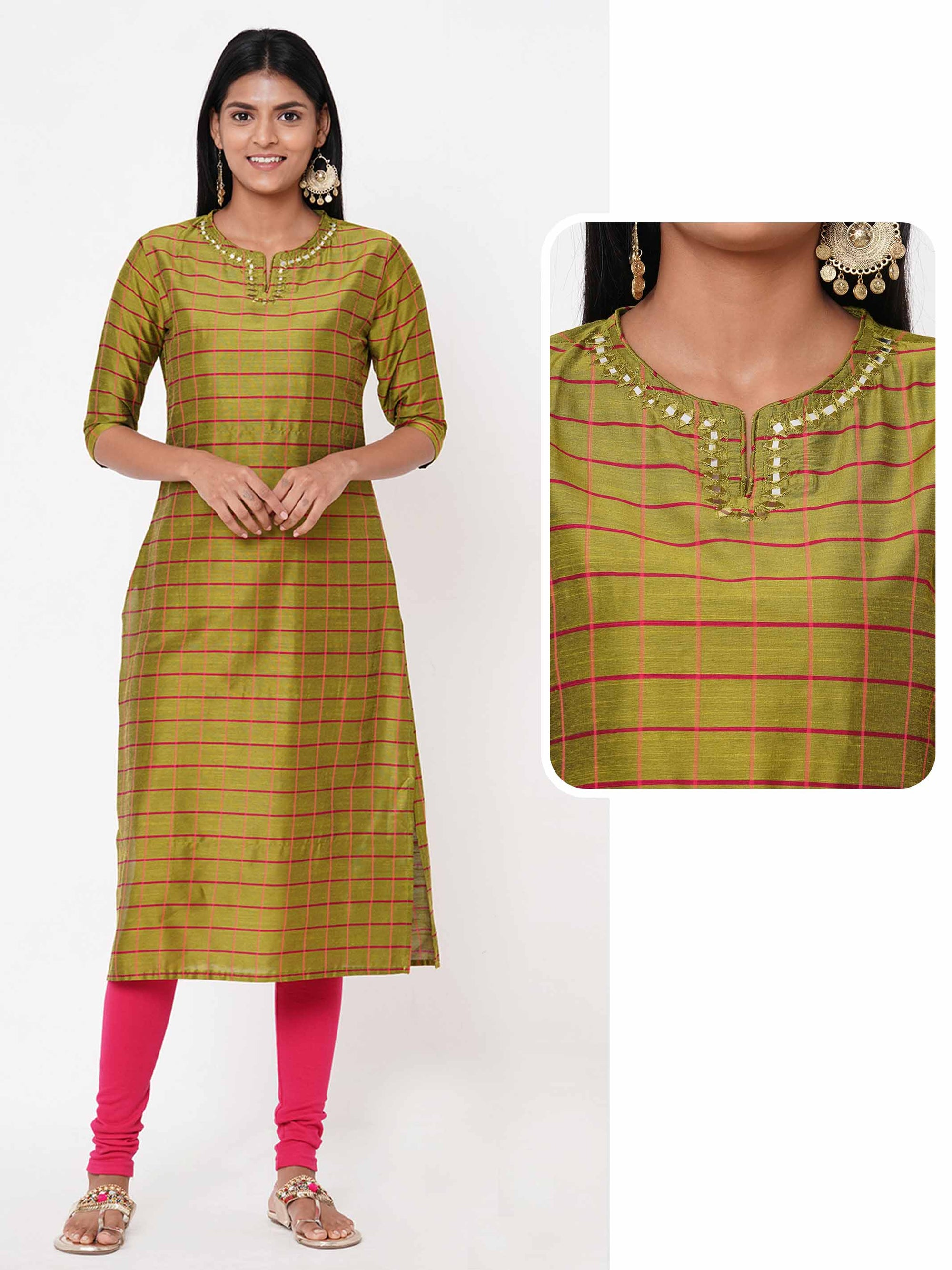 Woven Checks & Embellished Straight Kurta - Green