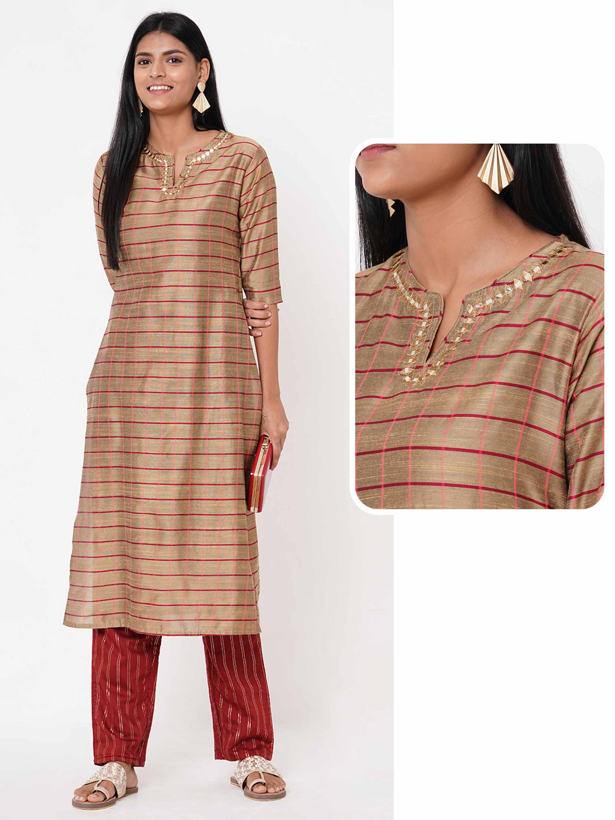 Woven Checks & Embellished Straight Kurta – Camel Brown