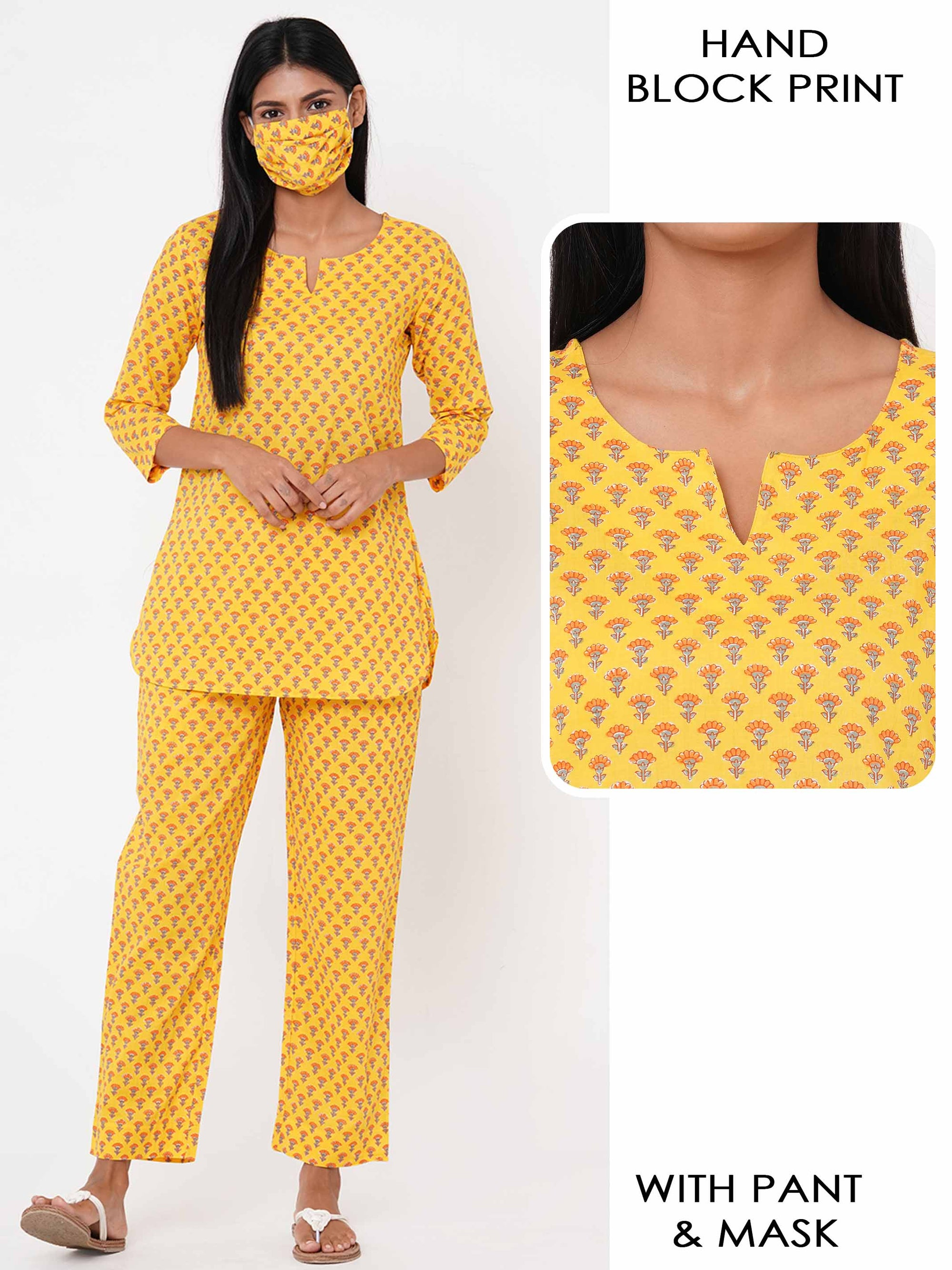 Floral Block Printed Loungewear with 2 Ply Mask – Yellow