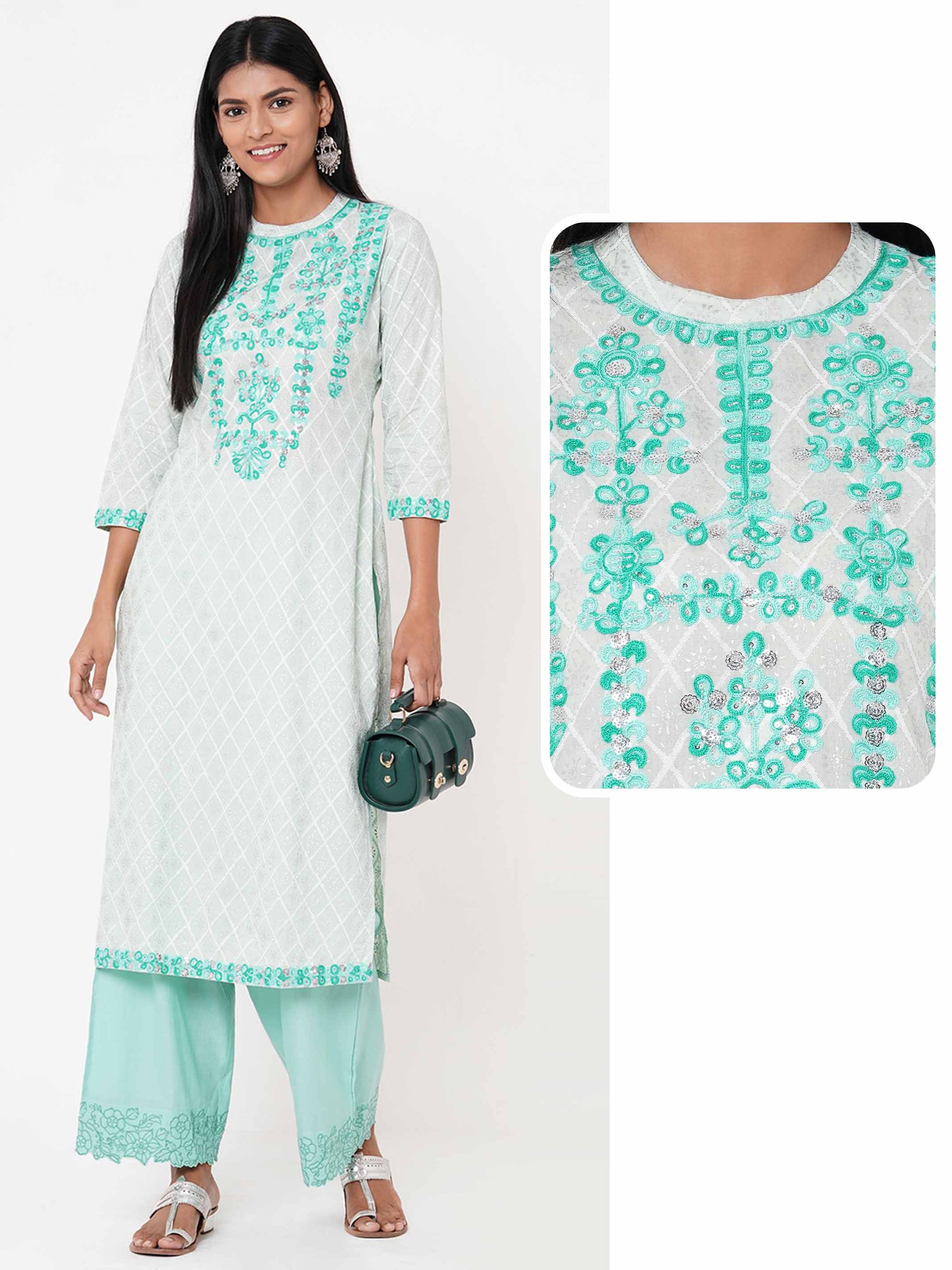 Lattice Foil Printed & Embroidered Straight Kurta – Mint Green