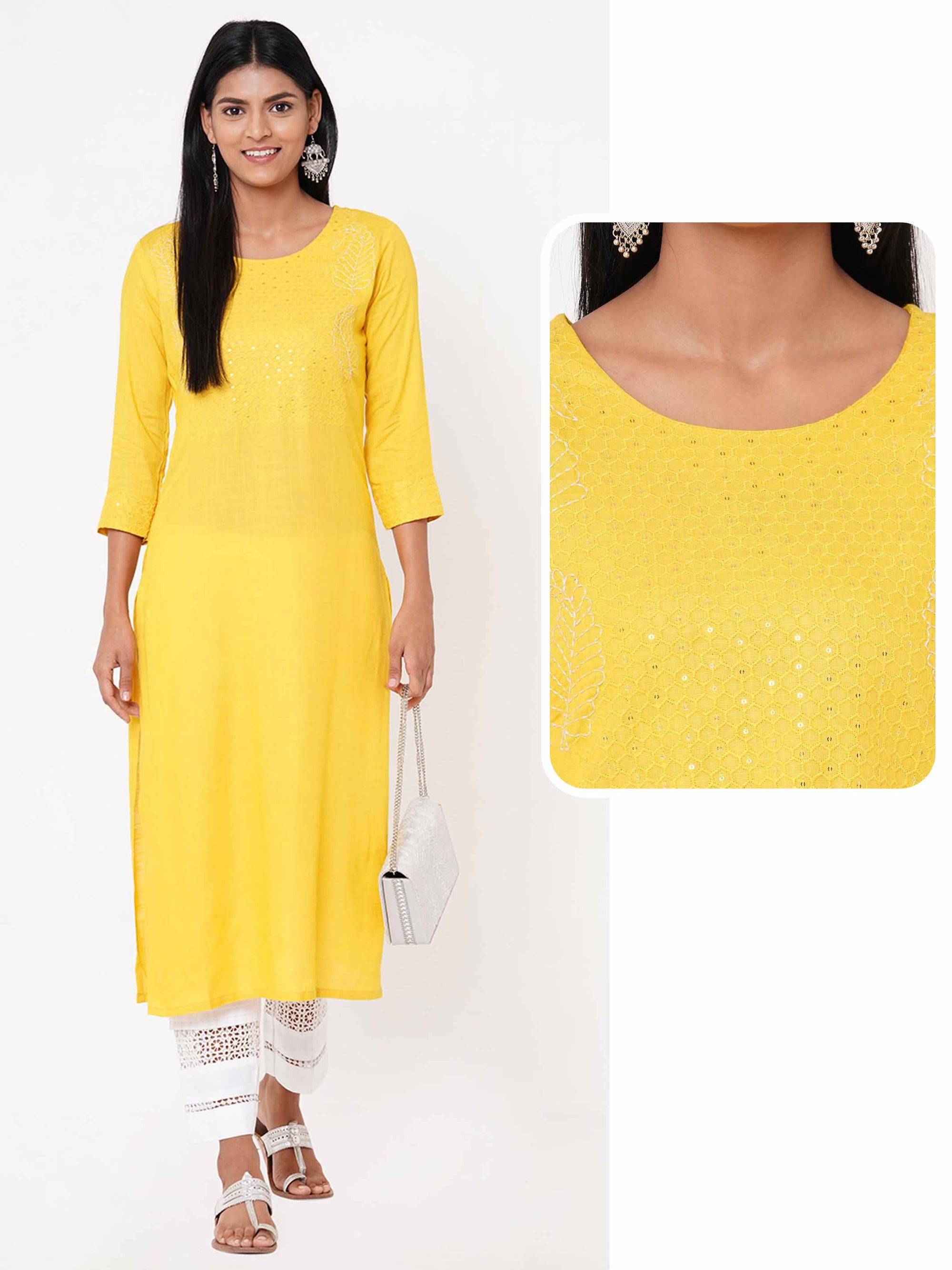 Honeycomb Embroidered Yoke Straight Kurta – Yellow