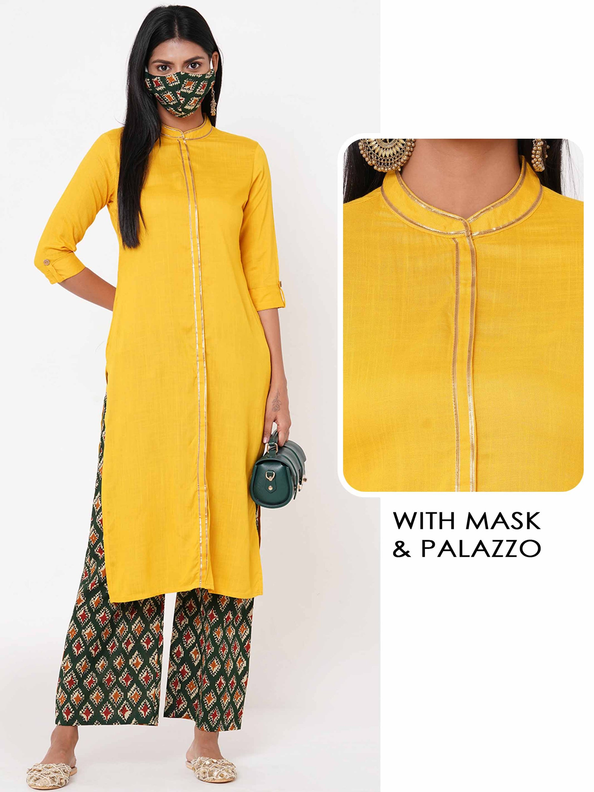 Gota Embellished Kurta with Printed palazzo & 2 Ply Mask - Yellow