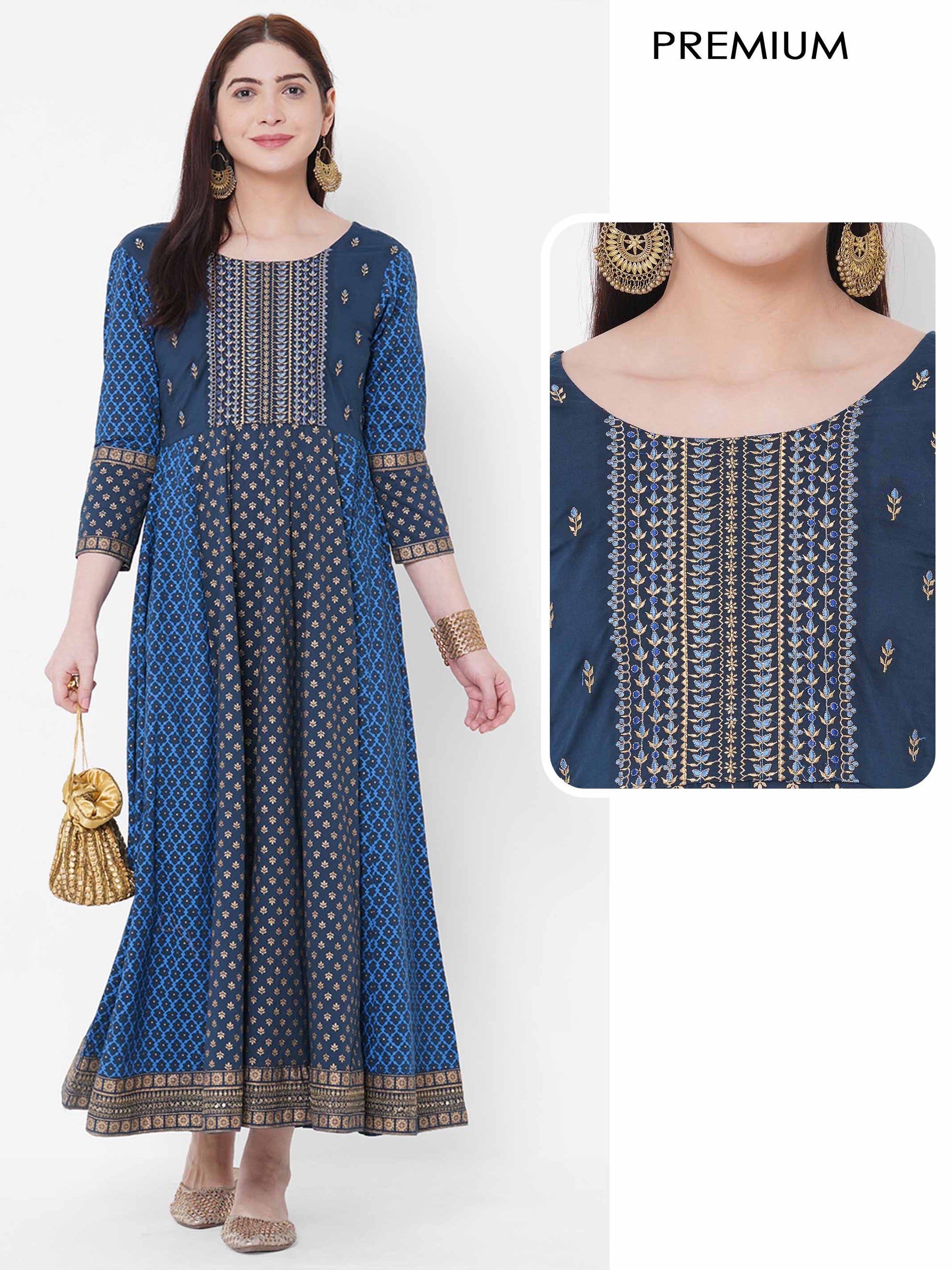 Ethnic Mix Printed & Embroidered Paneled Dress - Navy Blue