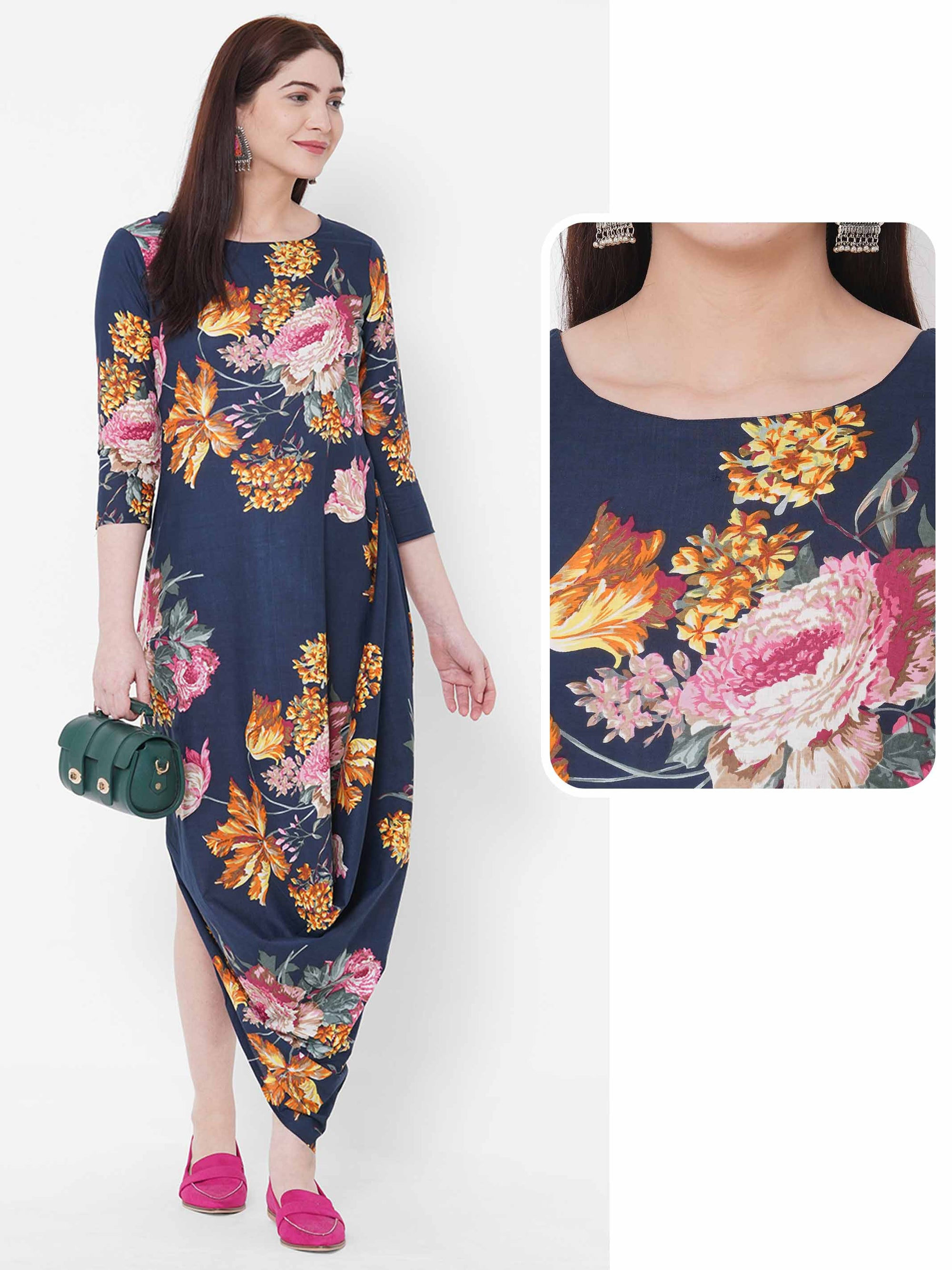 Floral Printed Cowl Dress - Blue