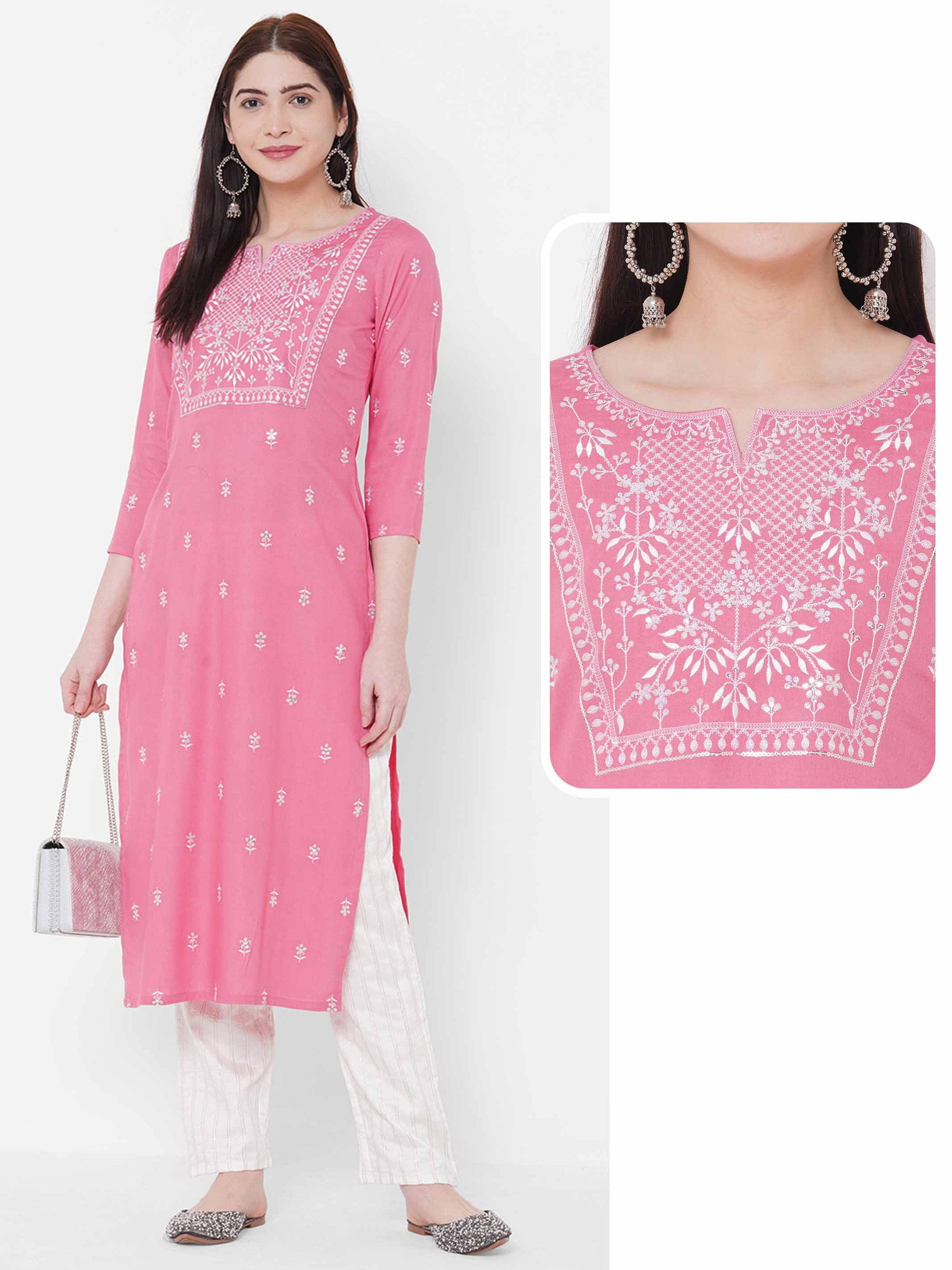 Floral Embroidered Straight Kurta - Pink