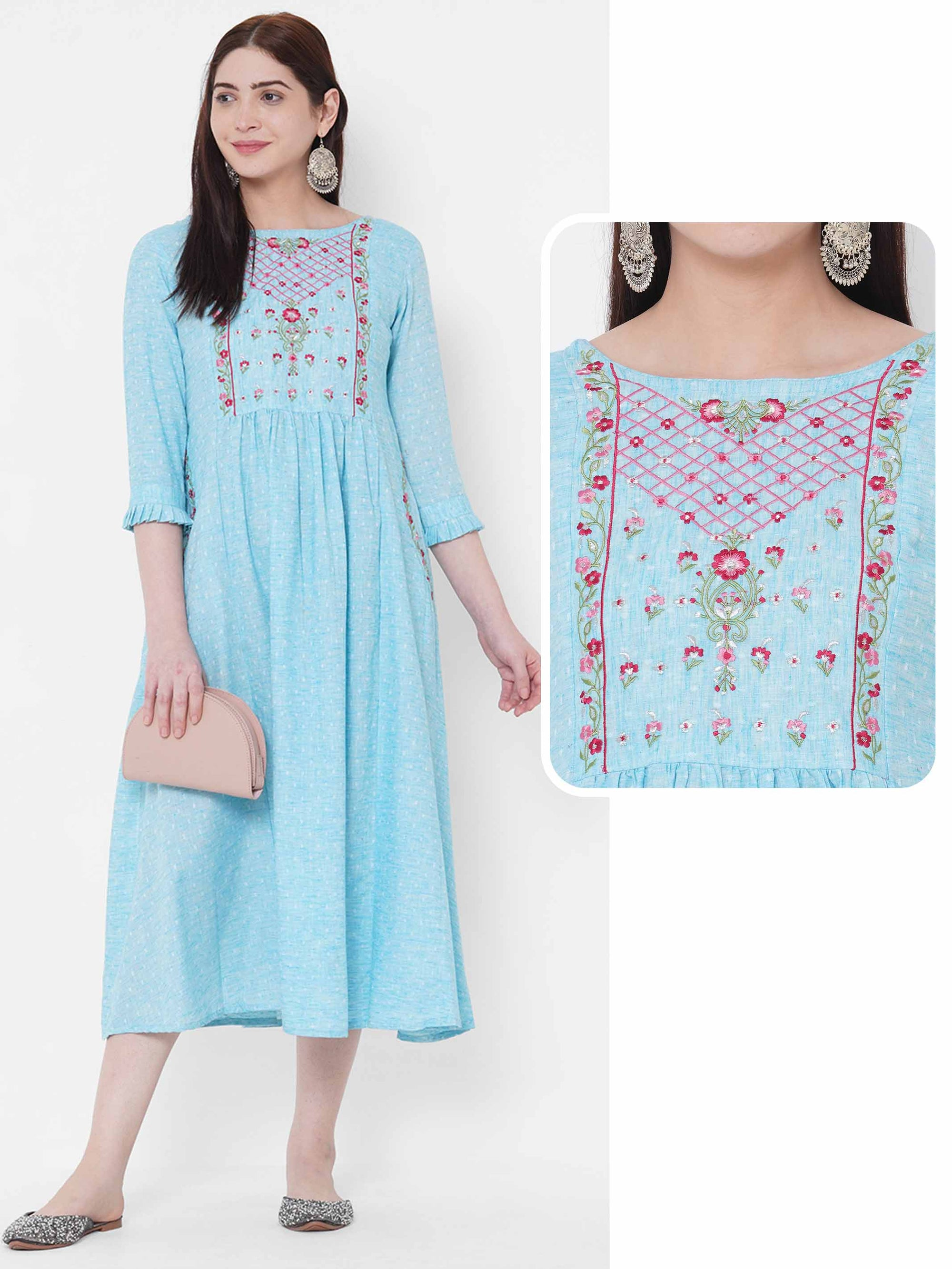 Floral Embroidered & Gathered Dress - Powder Blue